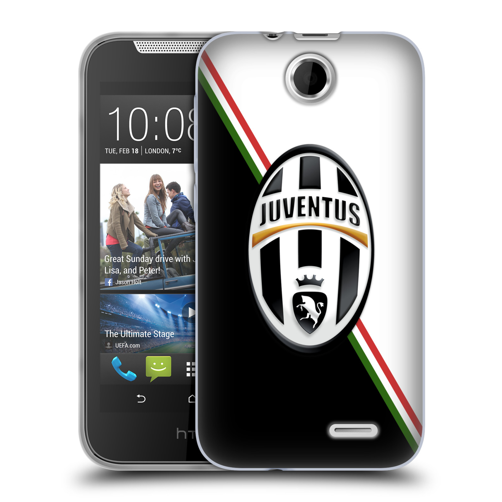 Silikonové pouzdro na mobil HTC Desire 310 HEAD CASE Juventus FC - Black and White (Silikonový kryt či obal na mobilní telefon Juventus FC Official pro HTC Desire 310)