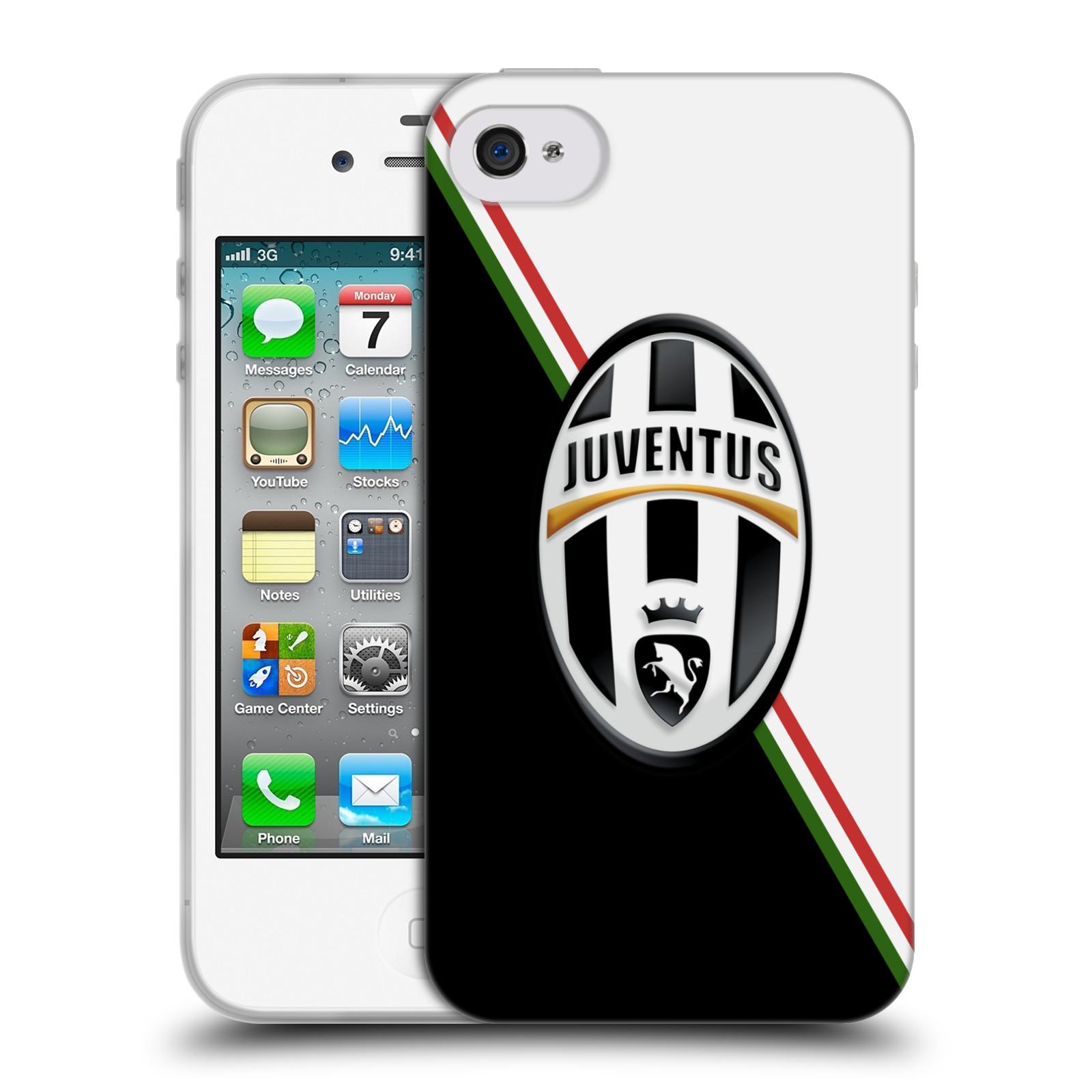 Silikonové pouzdro na mobil Apple iPhone 4 a 4S HEAD CASE Juventus FC - Black and White (Silikonový kryt či obal na mobilní telefon Juventus FC Official pro Apple iPhone 4 a 4S)