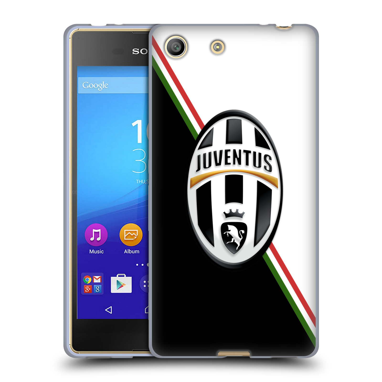 Silikonové pouzdro na mobil Sony Xperia M5 HEAD CASE Juventus FC - Black and White (Silikonový kryt či obal na mobilní telefon Juventus FC Official pro Sony Xperia M5 Dual SIM / Aqua)