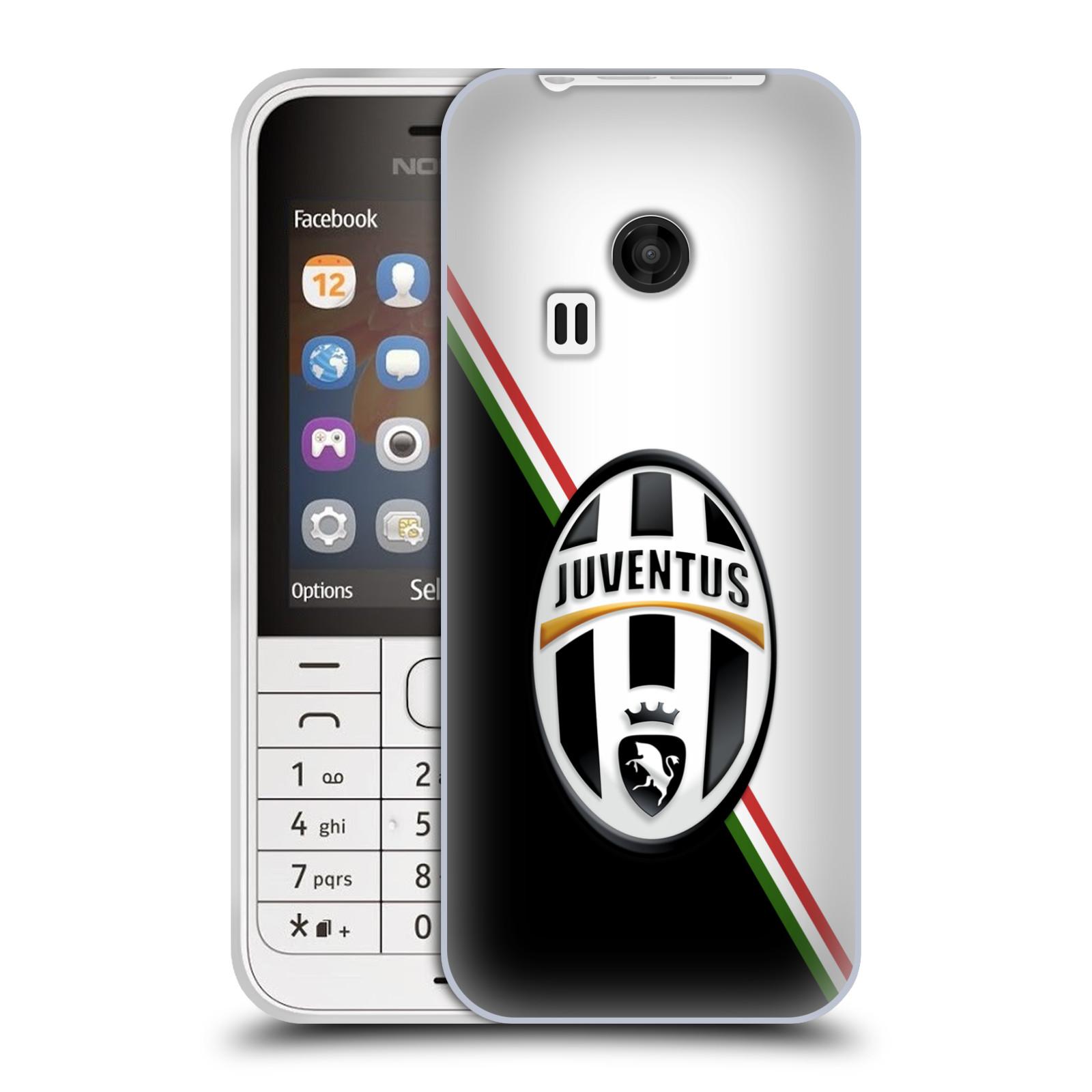 Silikonové pouzdro na mobil Nokia 220 HEAD CASE Juventus FC - Black and White (Silikonový kryt či obal na mobilní telefon Juventus FC Official pro Nokia 220 a 220 Dual SIM)