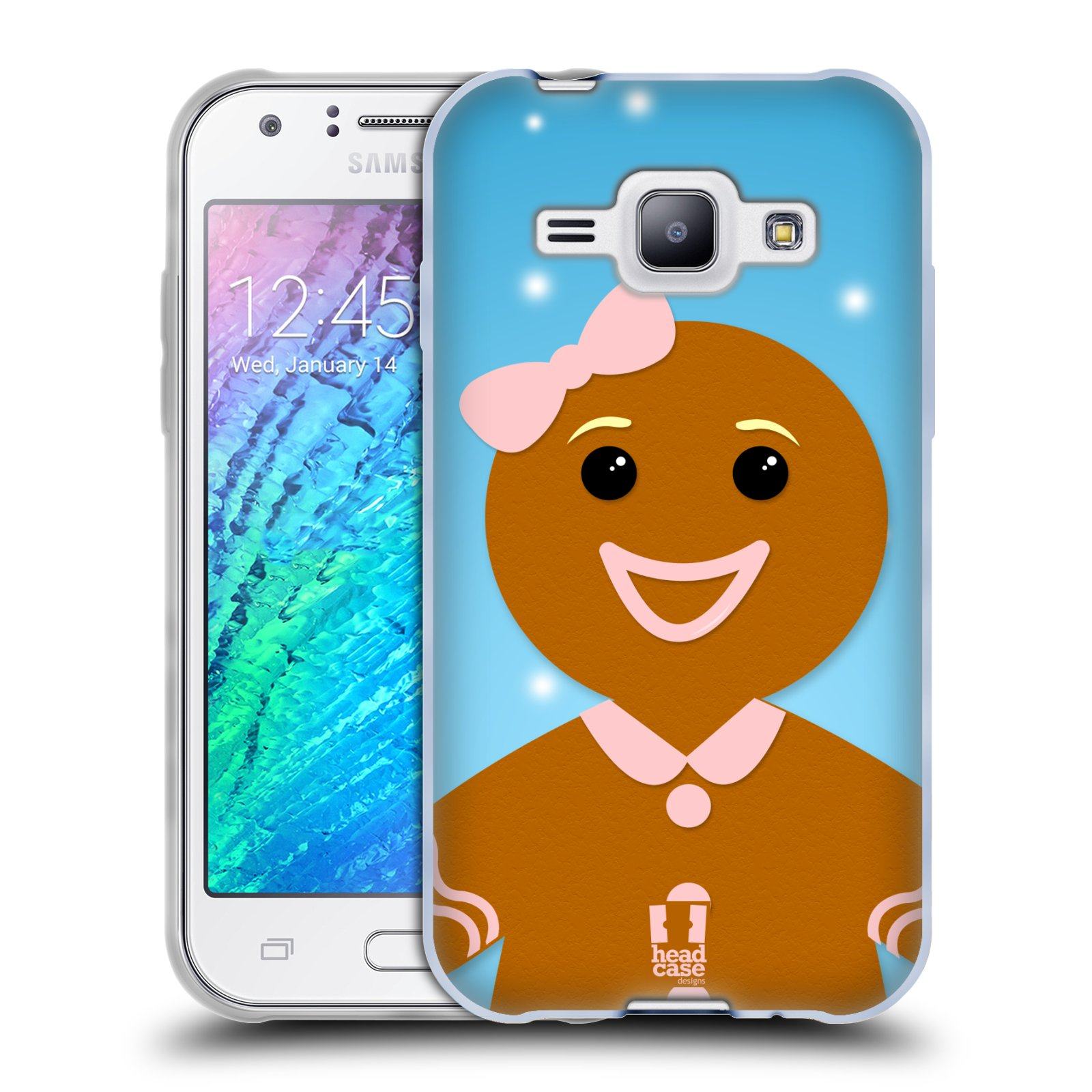 Silikonové pouzdro na mobil Samsung Galaxy J1 HEAD CASE VÁNOCE PERNÍČEK (Silikonový kryt či obal na mobilní telefon Samsung Galaxy J1 a J1 Duos)