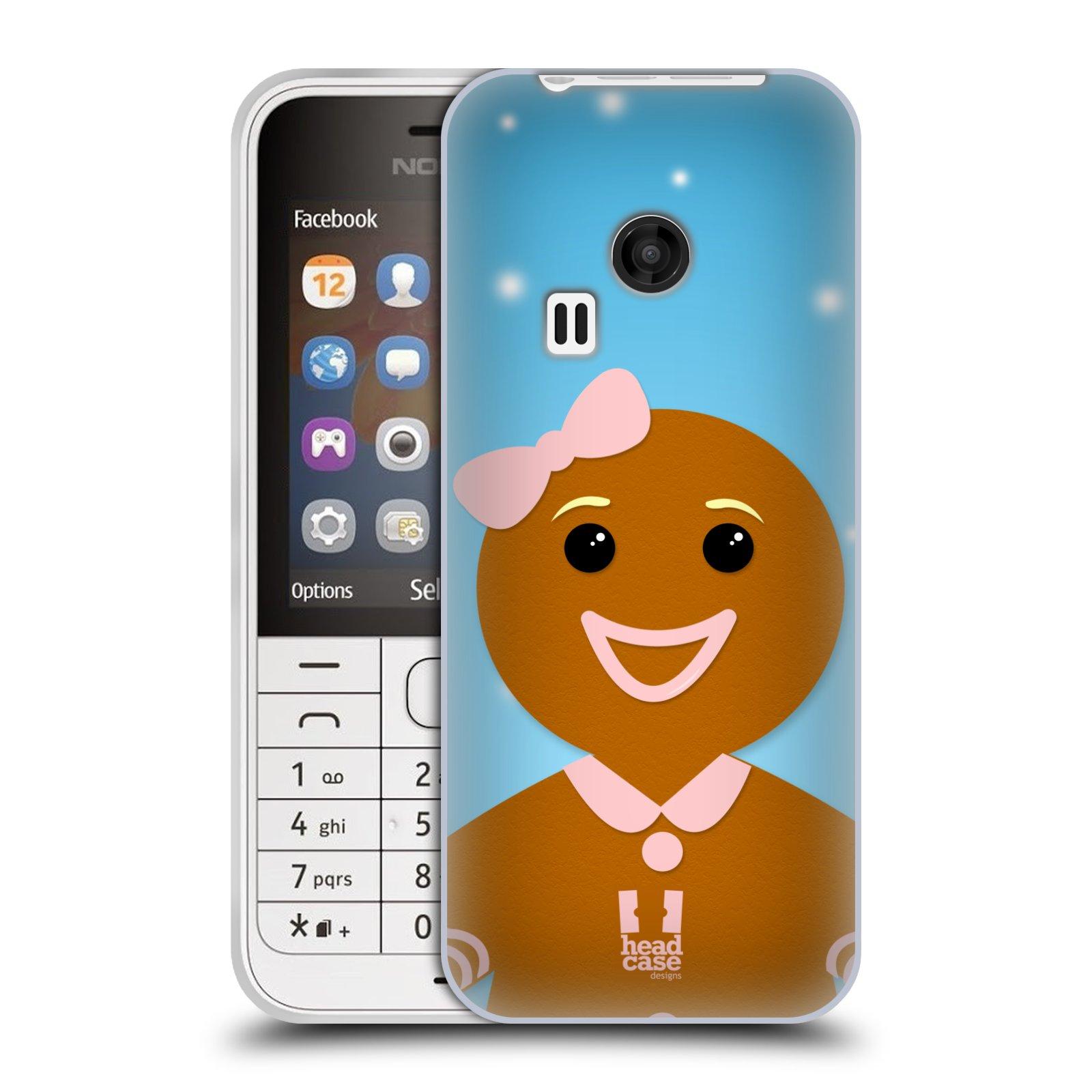 Silikonové pouzdro na mobil Nokia 220 HEAD CASE VÁNOCE PERNÍČEK (Silikonový kryt či obal na mobilní telefon Nokia 220 a 220 Dual SIM)