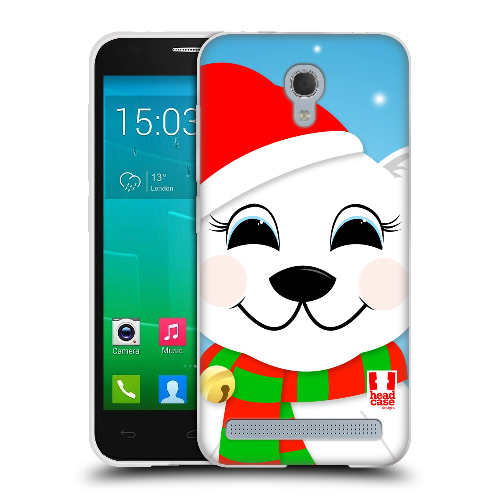 Silikonové pouzdro na mobil Alcatel One Touch Idol 2 Mini S 6036Y HEAD CASE VÁNOCE POLÁRNÍ MÉĎA (Silikonový kryt či obal na mobilní telefon Alcatel Idol 2 Mini S OT-6036Y)