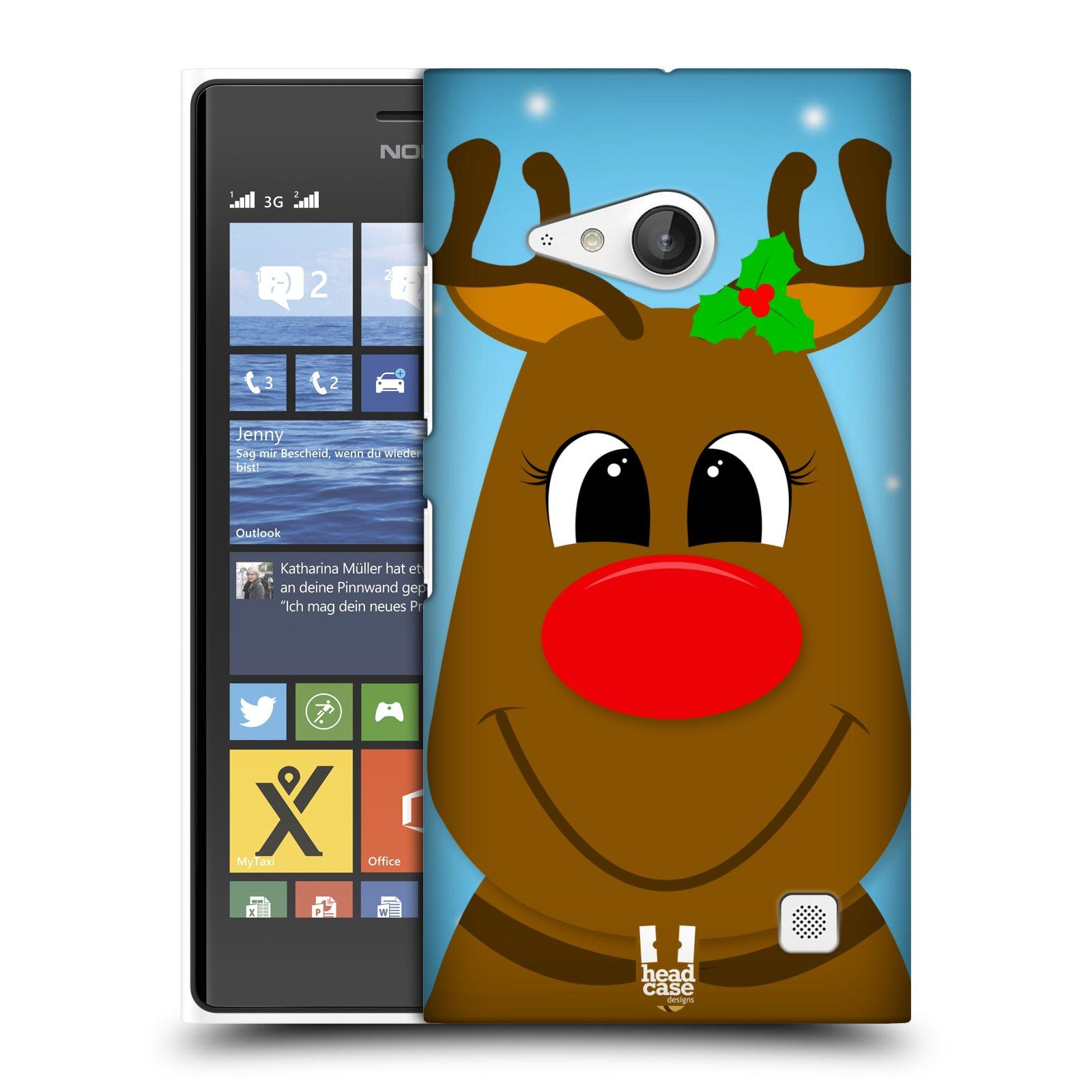 Plastové pouzdro na mobil Nokia Lumia 730 Dual SIM HEAD CASE VÁNOCE RUDOLF SOB (Kryt či obal na mobilní telefon Nokia Lumia 730 Dual SIM)