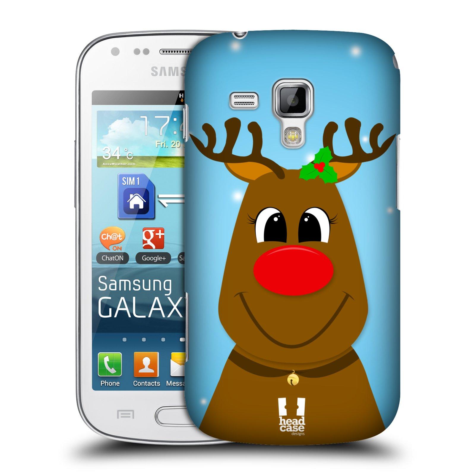 Plastové pouzdro na mobil Samsung Galaxy S Duos HEAD CASE VÁNOCE RUDOLF SOB (Kryt či obal na mobilní telefon Samsung Galaxy S Duos GT-S7562)