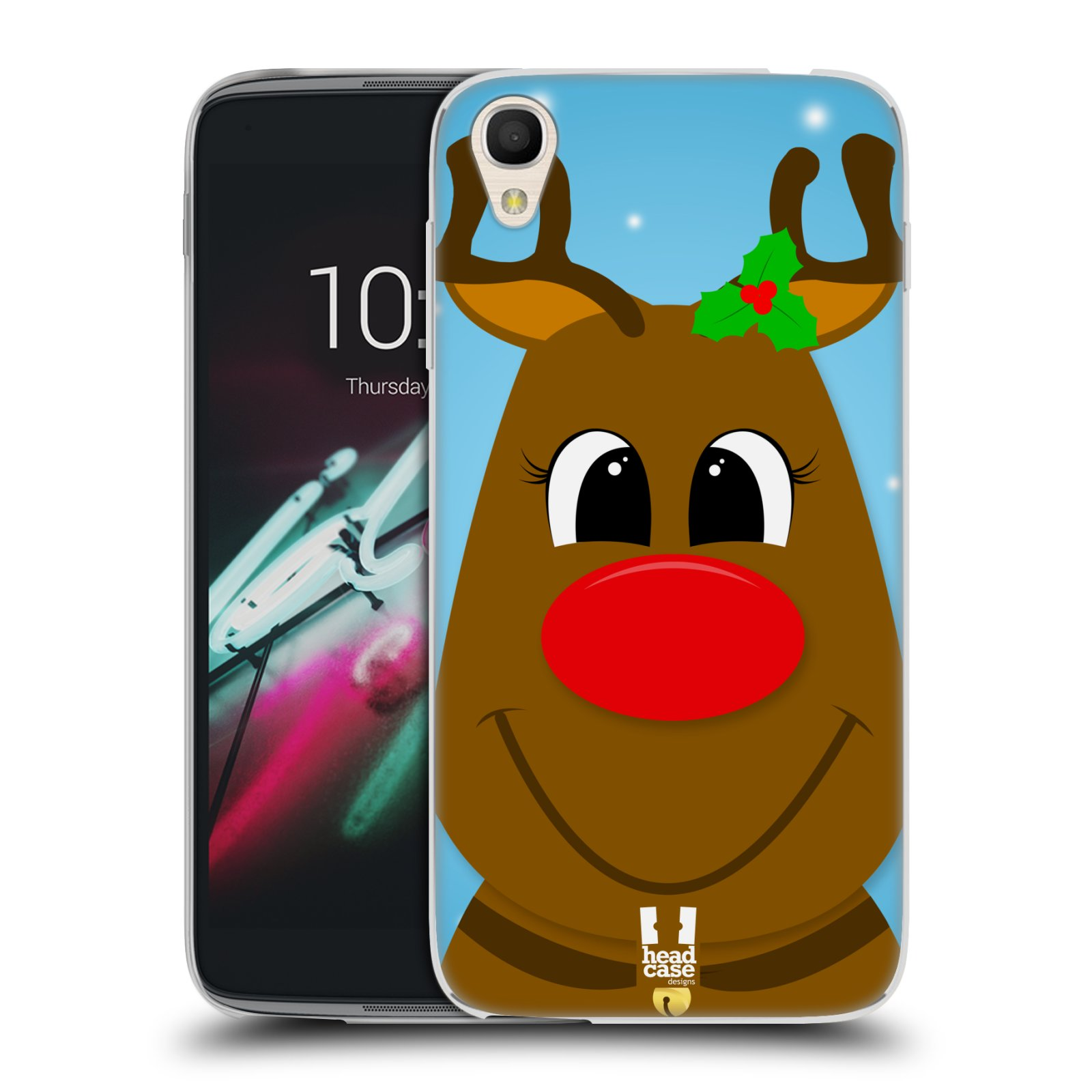 "Silikonové pouzdro na mobil Alcatel One Touch 6039Y Idol 3 HEAD CASE VÁNOCE RUDOLF SOB (Silikonový kryt či obal na mobilní telefon Alcatel One Touch Idol 3 OT-6039Y s 4,7"" displejem)"