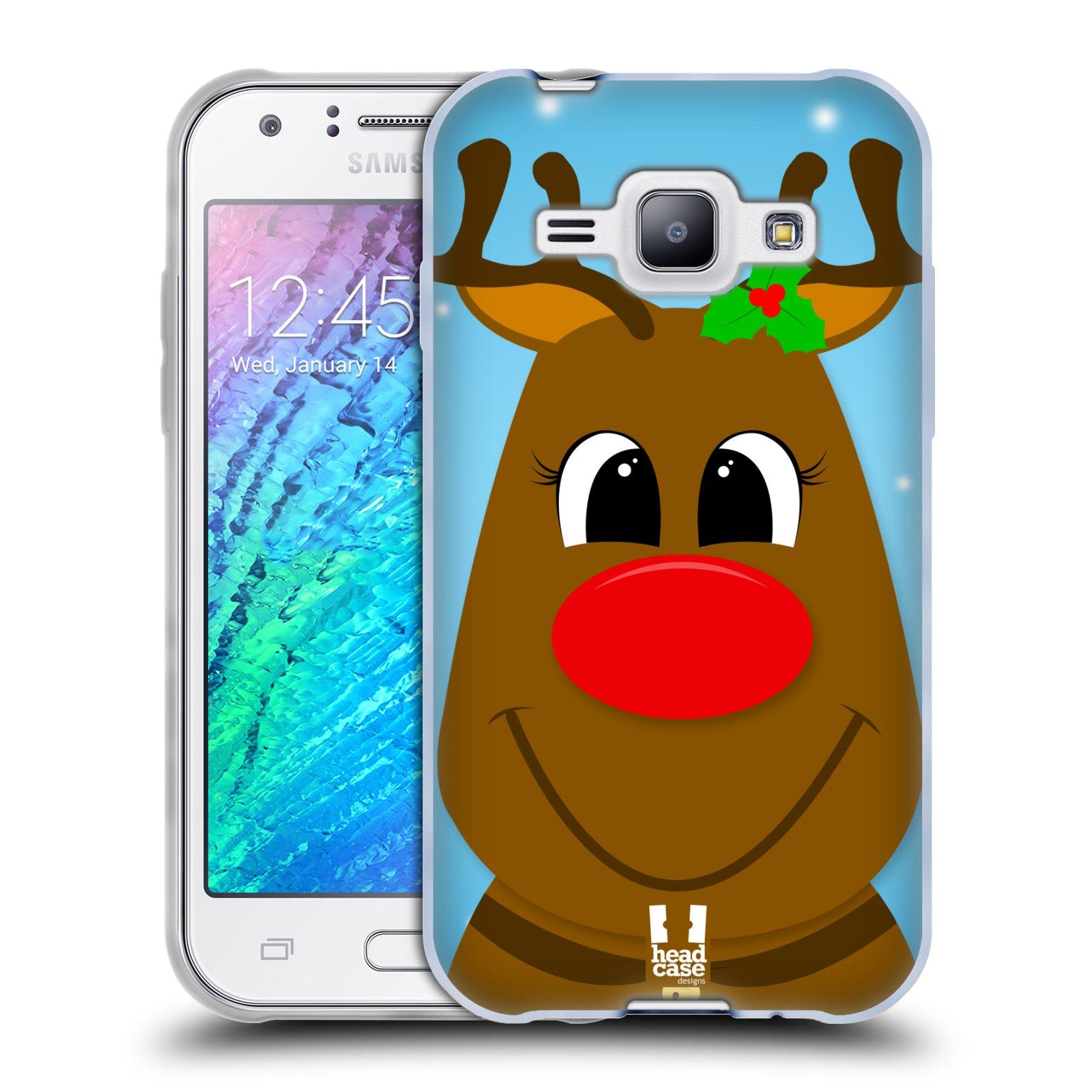 Silikonové pouzdro na mobil Samsung Galaxy J1 HEAD CASE VÁNOCE RUDOLF SOB (Silikonový kryt či obal na mobilní telefon Samsung Galaxy J1 a J1 Duos)