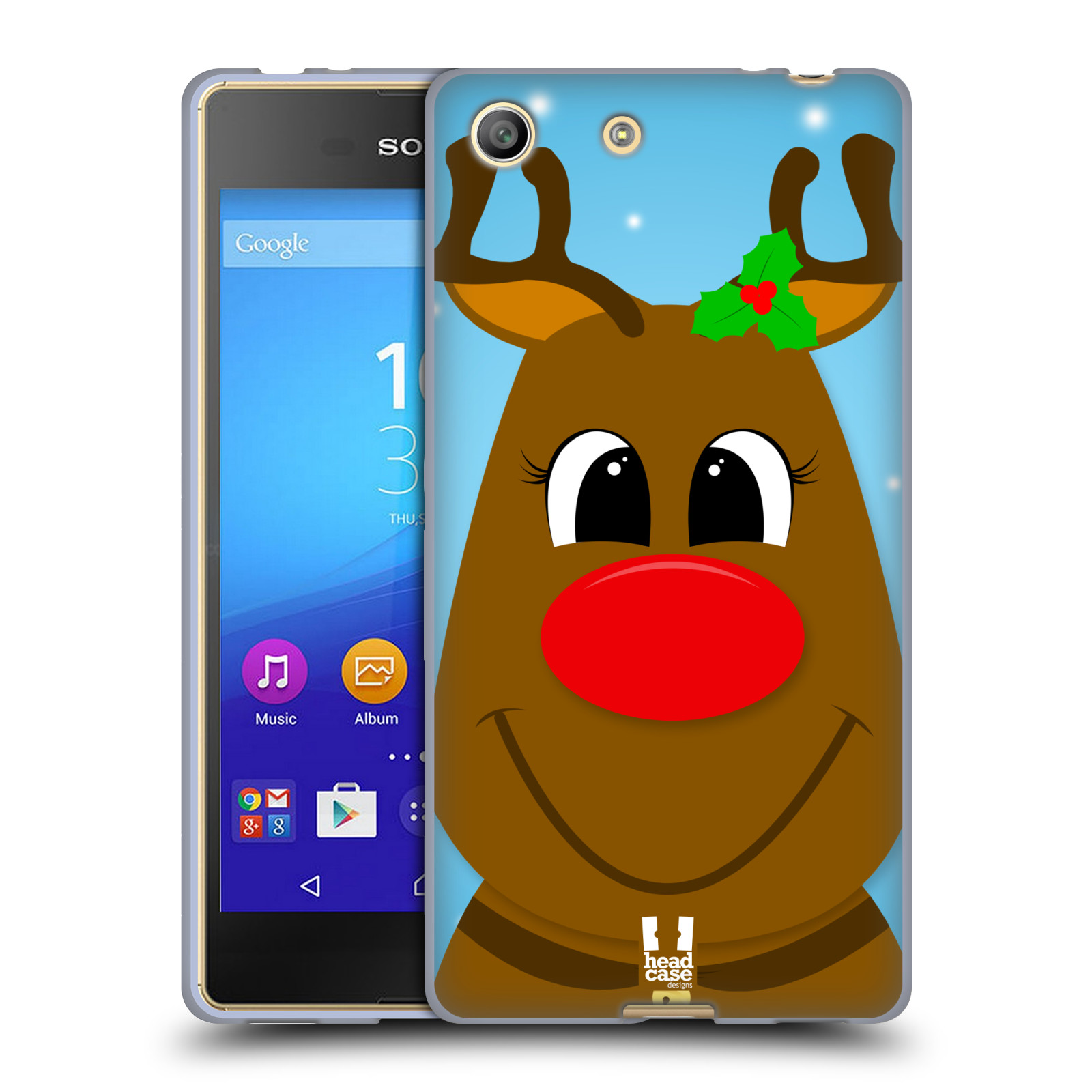 Silikonové pouzdro na mobil Sony Xperia M5 HEAD CASE VÁNOCE RUDOLF SOB (Silikonový kryt či obal na mobilní telefon Sony Xperia M5 Dual SIM / Aqua)