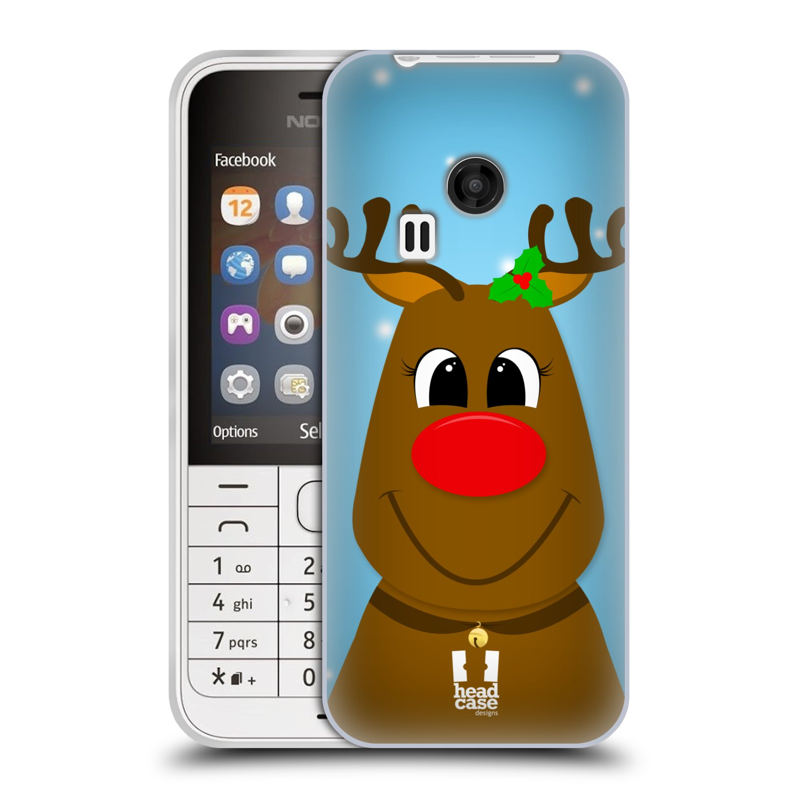 Silikonové pouzdro na mobil Nokia 220 HEAD CASE VÁNOCE RUDOLF SOB (Silikonový kryt či obal na mobilní telefon Nokia 220 a 220 Dual SIM)