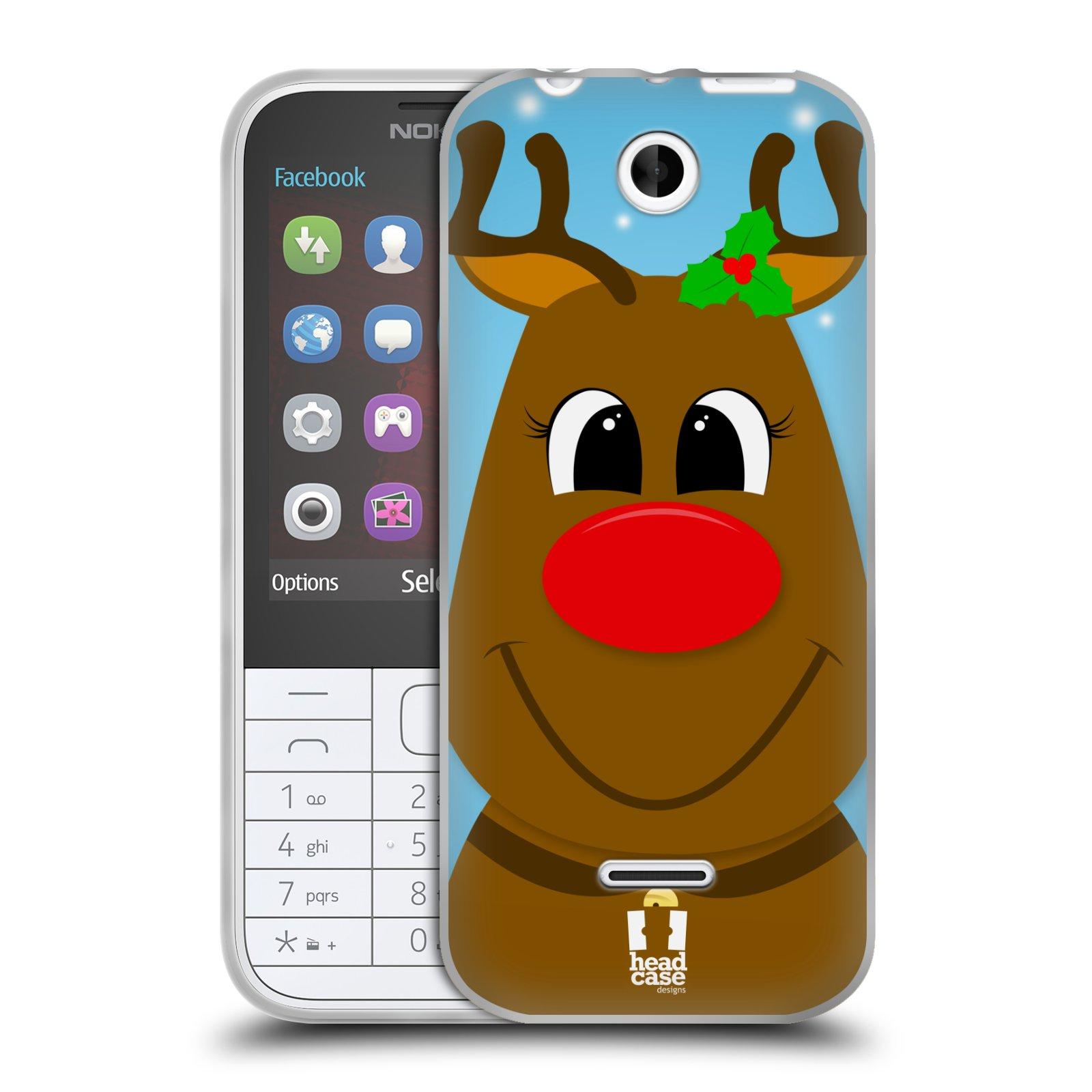 Silikonové pouzdro na mobil Nokia 225 HEAD CASE VÁNOCE RUDOLF SOB (Silikonový kryt či obal na mobilní telefon Nokia 225)