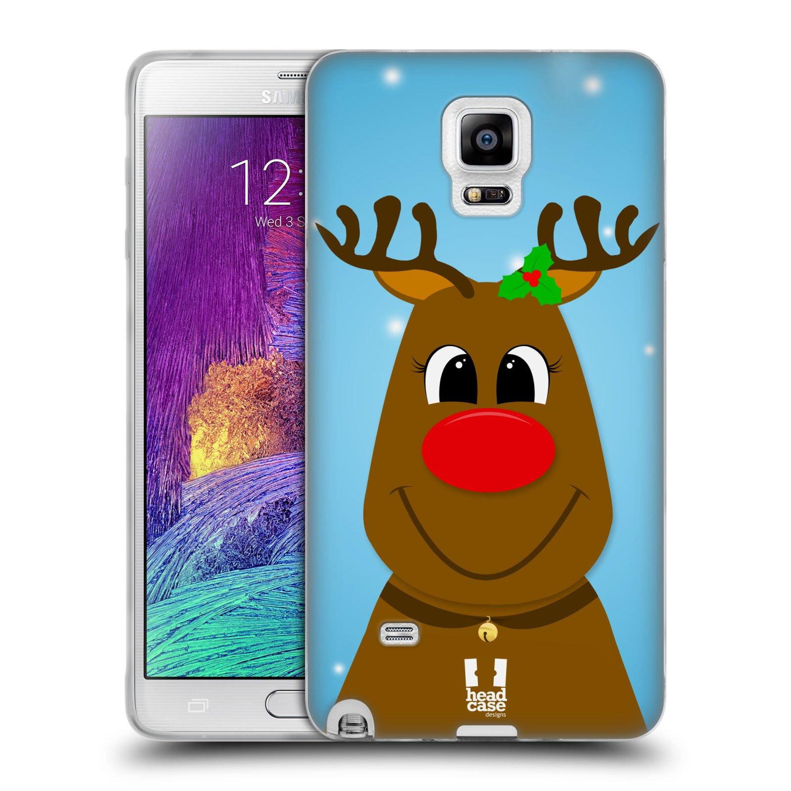 Silikonové pouzdro na mobil Samsung Galaxy Note 4 HEAD CASE VÁNOCE RUDOLF SOB (Silikonový kryt či obal na mobilní telefon Samsung Galaxy Note 4 SM-N910F)
