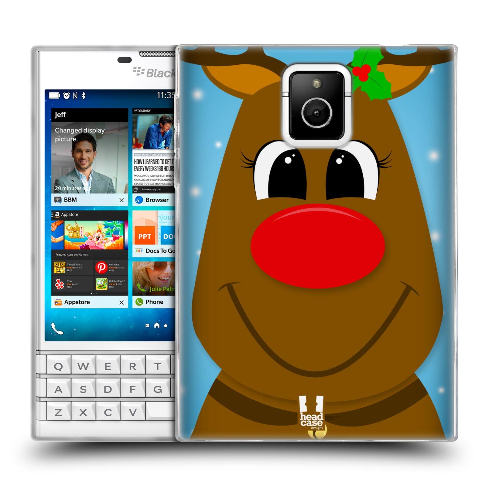 Silikonové pouzdro na mobil Blackberry PASSPORT HEAD CASE VÁNOCE RUDOLF SOB (Silikonový kryt či obal na mobilní telefon Blackberry PASSPORT)