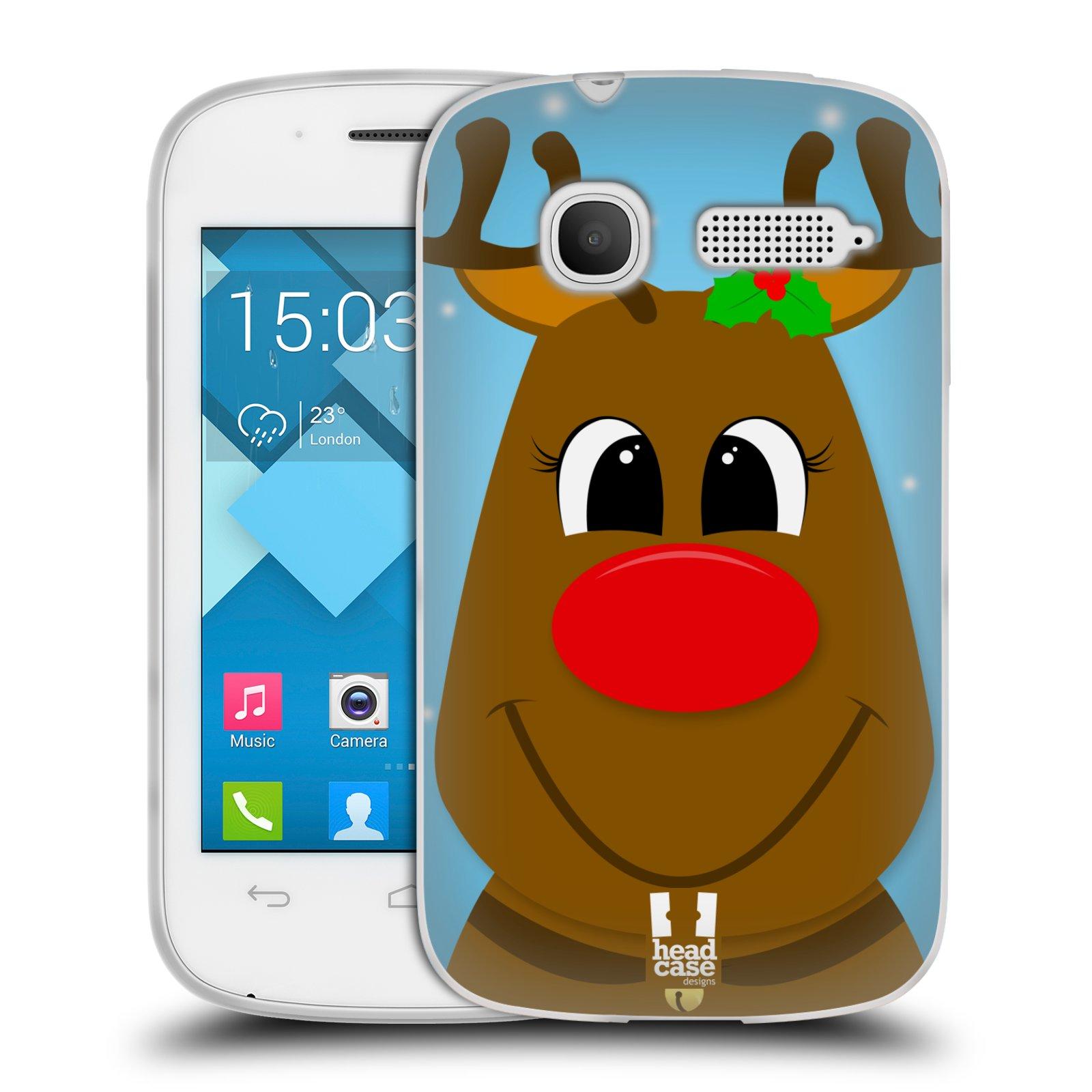 Silikonové pouzdro na mobil Alcatel One Touch Pop C1 HEAD CASE VÁNOCE RUDOLF SOB (Silikonový kryt či obal na mobilní telefon Alcatel OT-4015D POP C1)