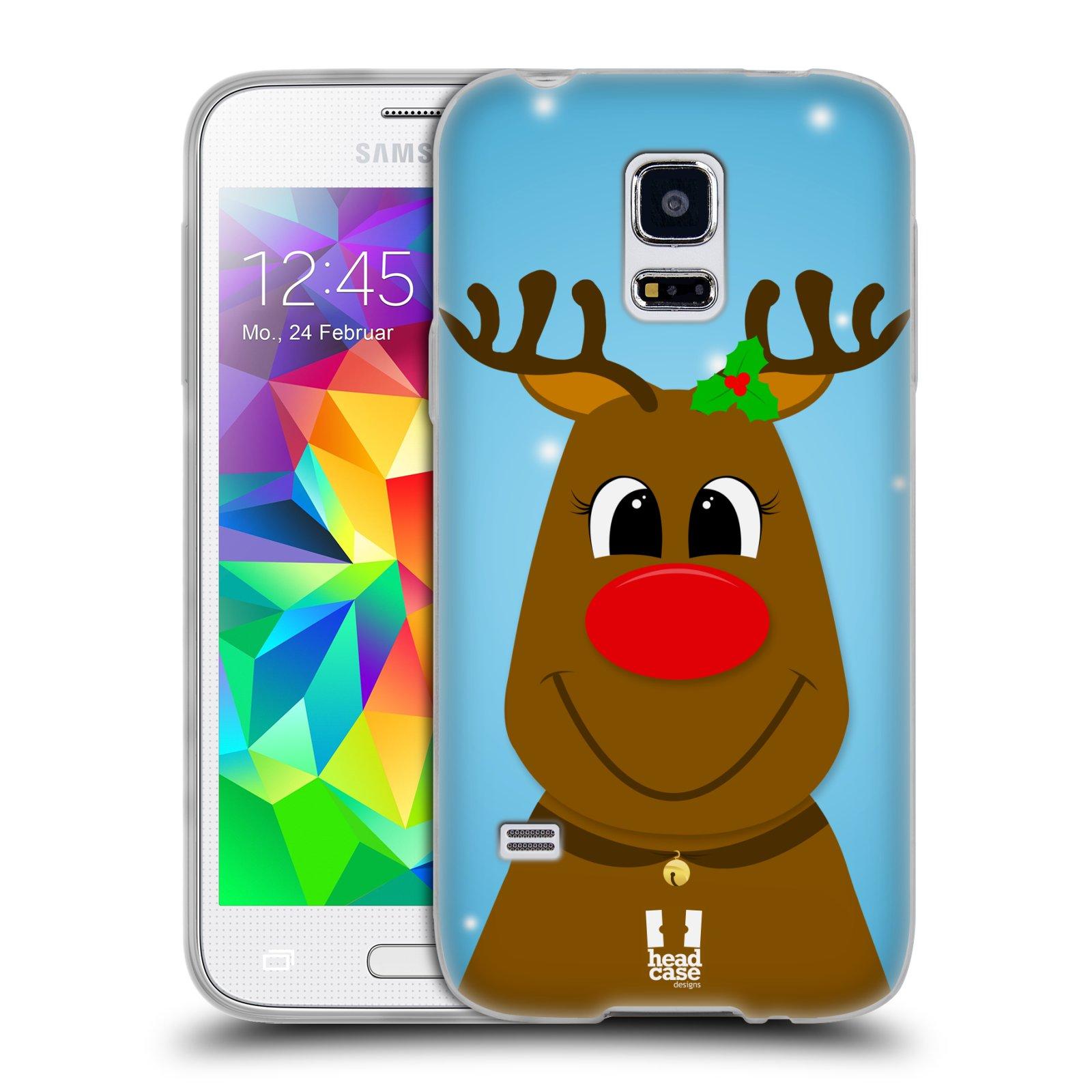 Silikonové pouzdro na mobil Samsung Galaxy S5 Mini HEAD CASE VÁNOCE RUDOLF SOB (Silikonový kryt či obal na mobilní telefon Samsung Galaxy S5 Mini SM-G800F)