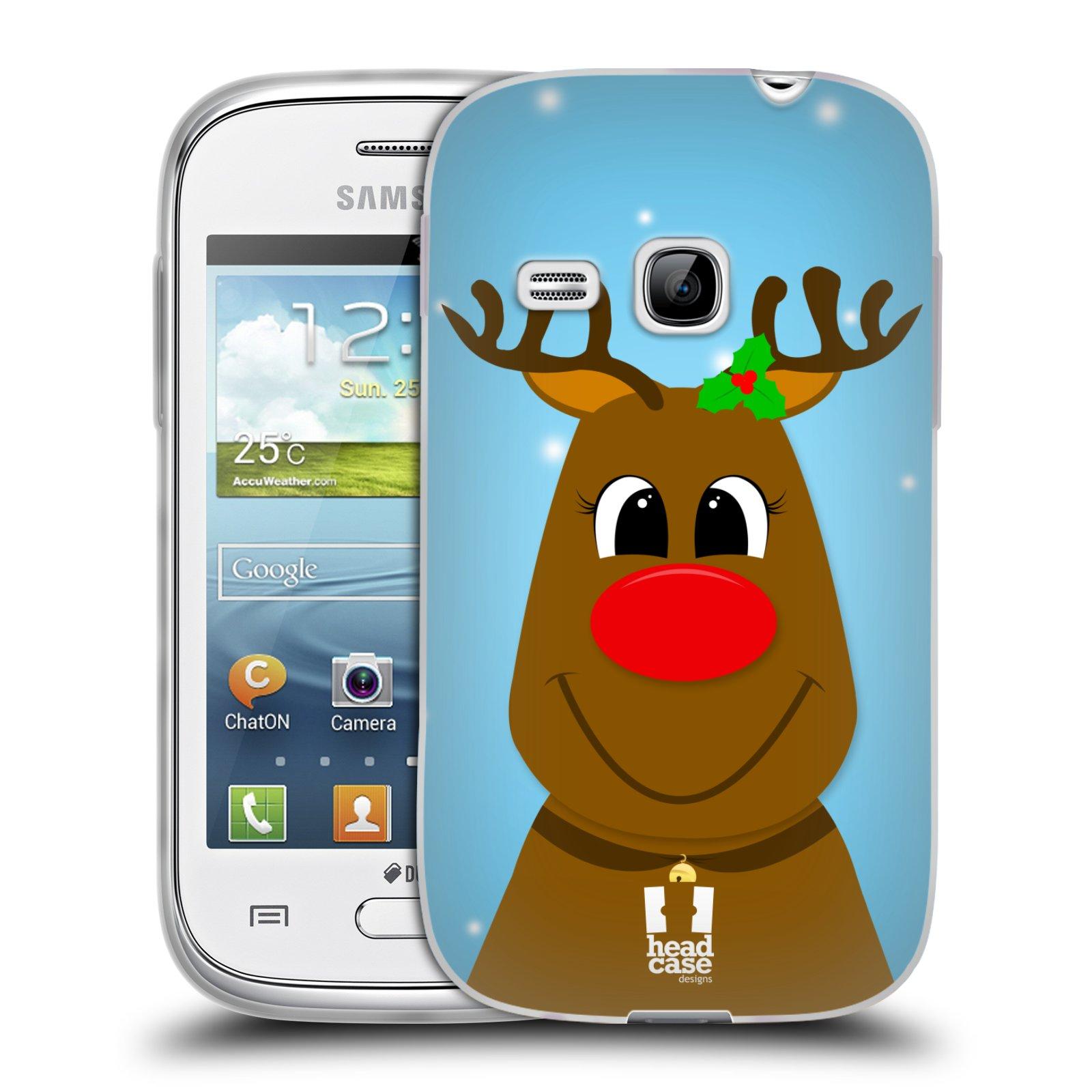 Silikonové pouzdro na mobil Samsung Galaxy Young HEAD CASE VÁNOCE RUDOLF SOB (Silikonový kryt či obal na mobilní telefon Samsung Galaxy Young GT-S6310)