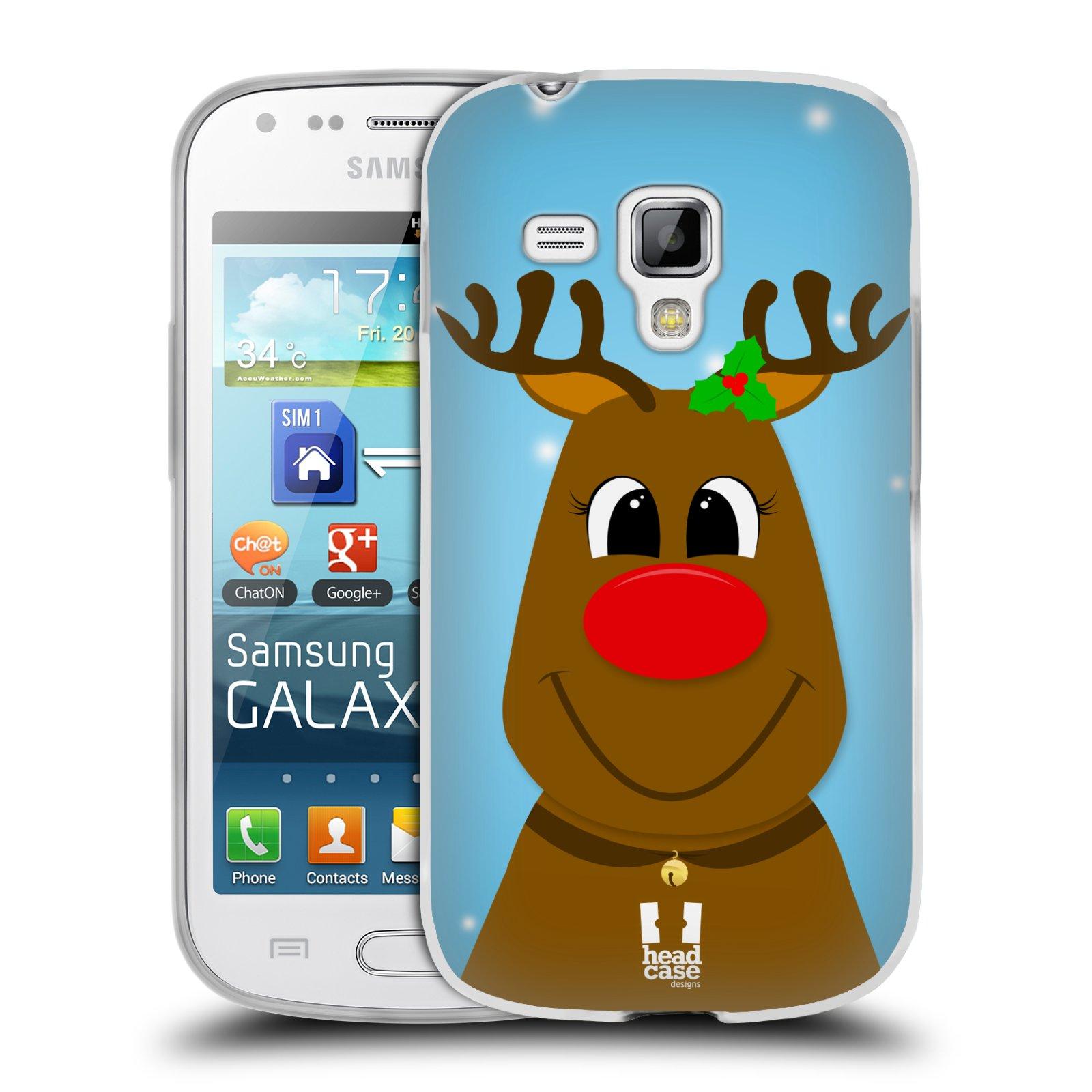 Silikonové pouzdro na mobil Samsung Galaxy Trend Plus HEAD CASE VÁNOCE RUDOLF SOB (Silikonový kryt či obal na mobilní telefon Samsung Galaxy Trend Plus GT-S7580)