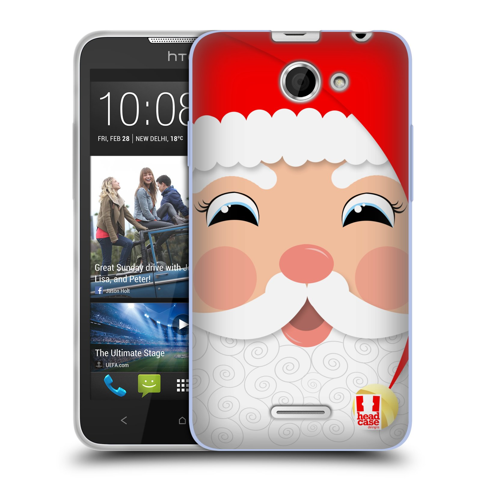 Silikonové pouzdro na mobil HTC Desire 516 HEAD CASE VÁNOCE SANTA (Silikonový kryt či obal na mobilní telefon HTC Desire 516 Dual SIM)