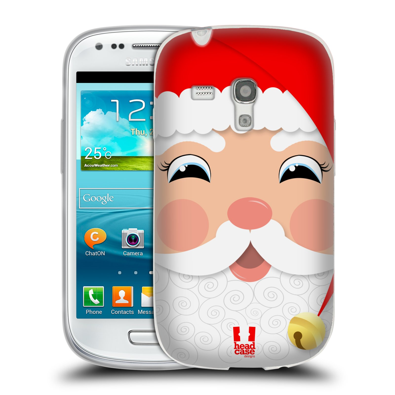 Silikonové pouzdro na mobil Samsung Galaxy S III Mini HEAD CASE VÁNOCE SANTA (Silikonový kryt či obal na mobilní telefon Samsung Galaxy S III Mini GT-i8190)