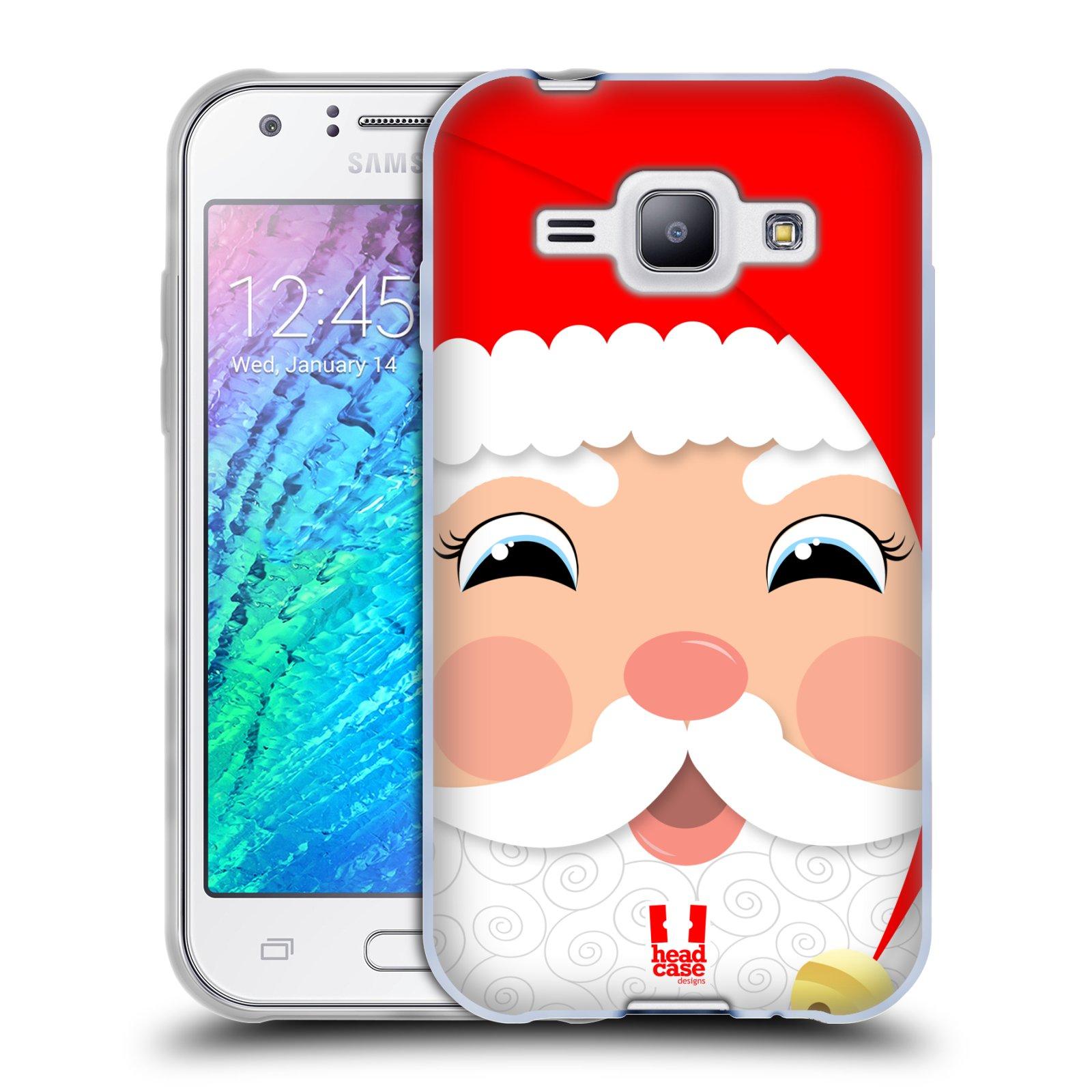 Silikonové pouzdro na mobil Samsung Galaxy J1 HEAD CASE VÁNOCE SANTA (Silikonový kryt či obal na mobilní telefon Samsung Galaxy J1 a J1 Duos)