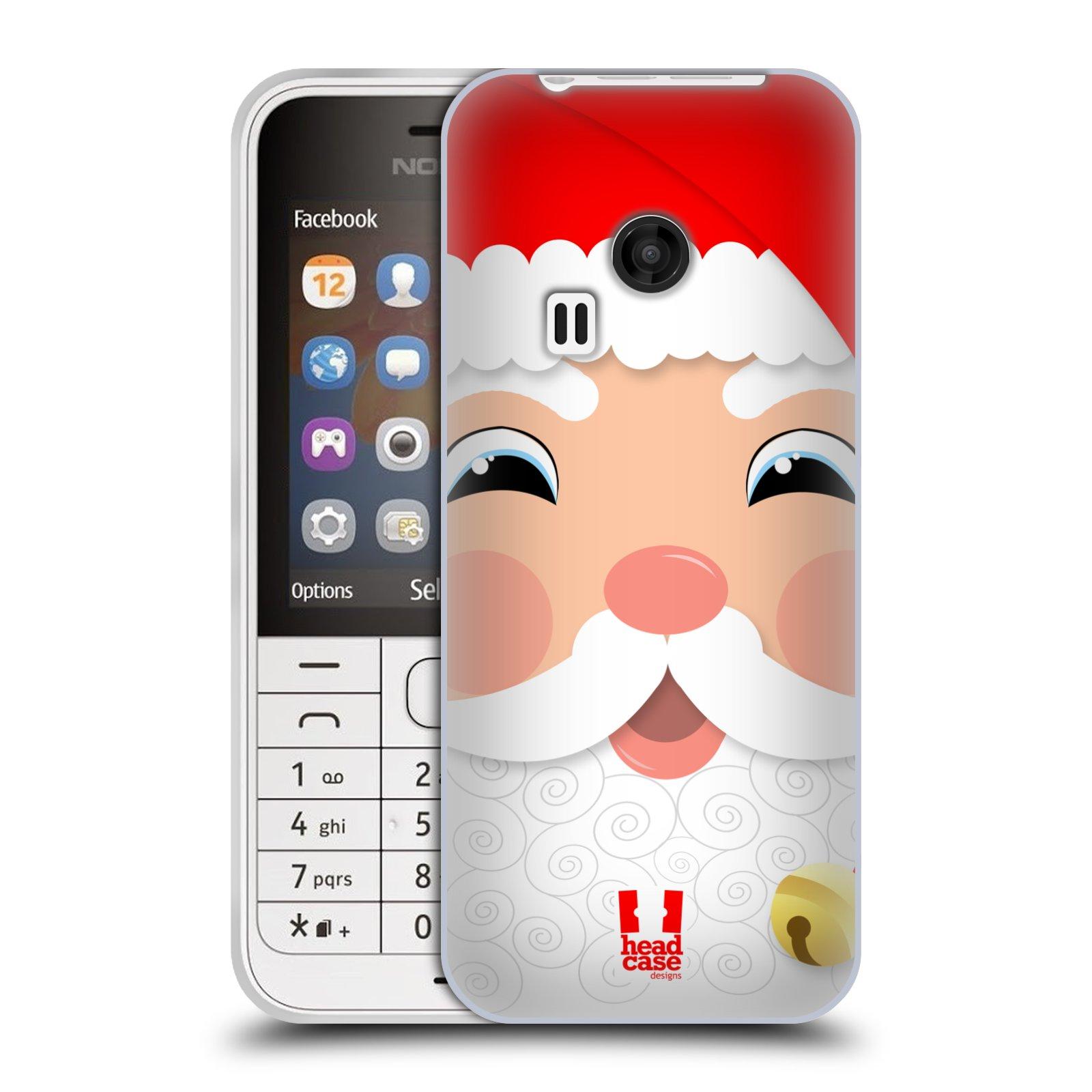 Silikonové pouzdro na mobil Nokia 220 HEAD CASE VÁNOCE SANTA (Silikonový kryt či obal na mobilní telefon Nokia 220 a 220 Dual SIM)