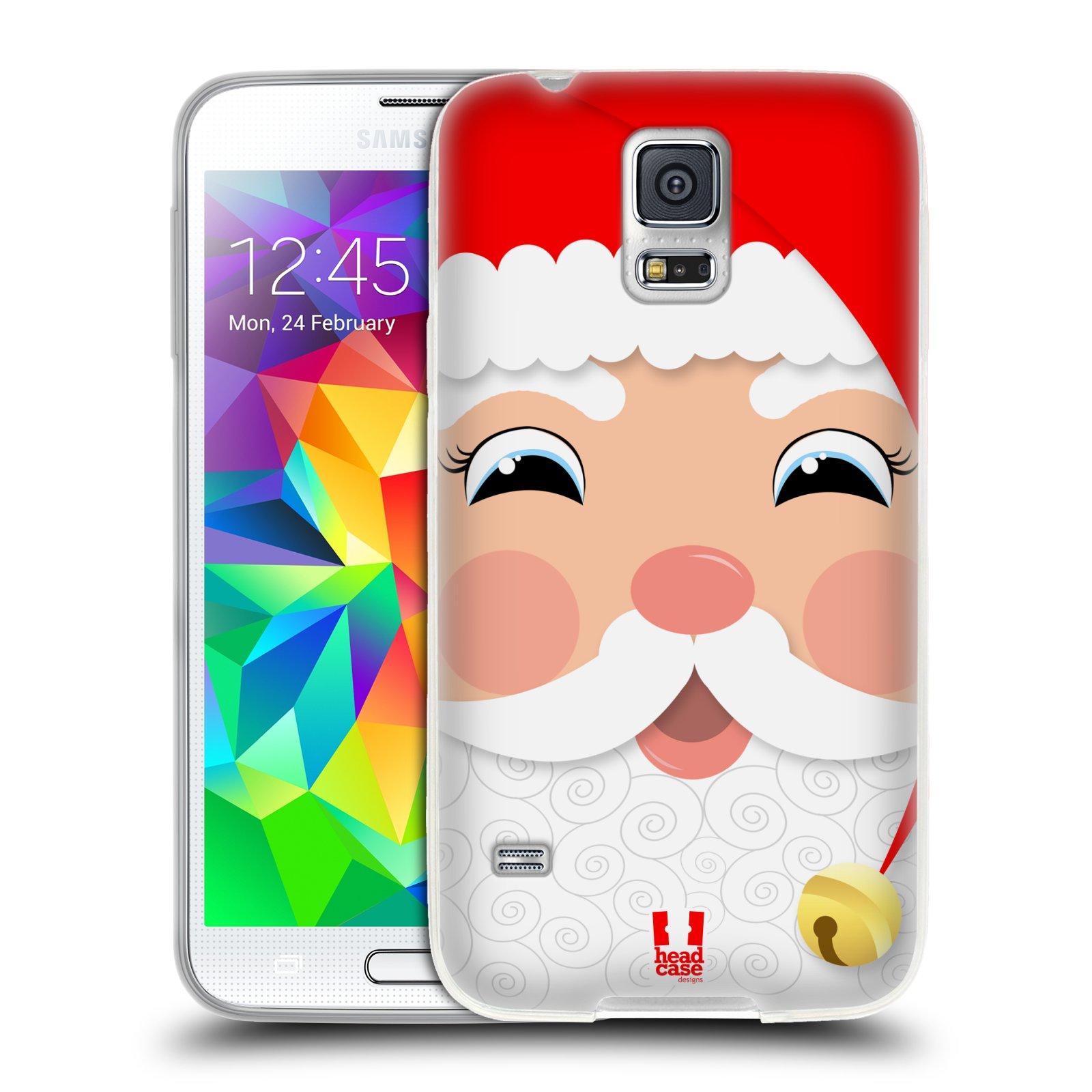 Silikonové pouzdro na mobil Samsung Galaxy S5 HEAD CASE VÁNOCE SANTA (Silikonový kryt či obal na mobilní telefon Samsung Galaxy S5 SM-G900F)