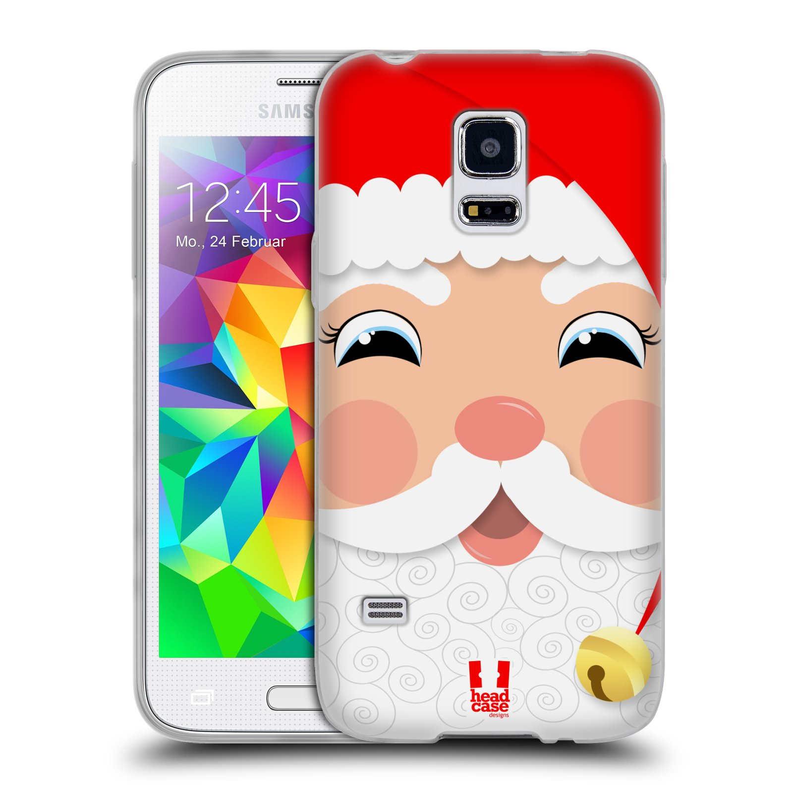 Silikonové pouzdro na mobil Samsung Galaxy S5 Mini HEAD CASE VÁNOCE SANTA (Silikonový kryt či obal na mobilní telefon Samsung Galaxy S5 Mini SM-G800F)