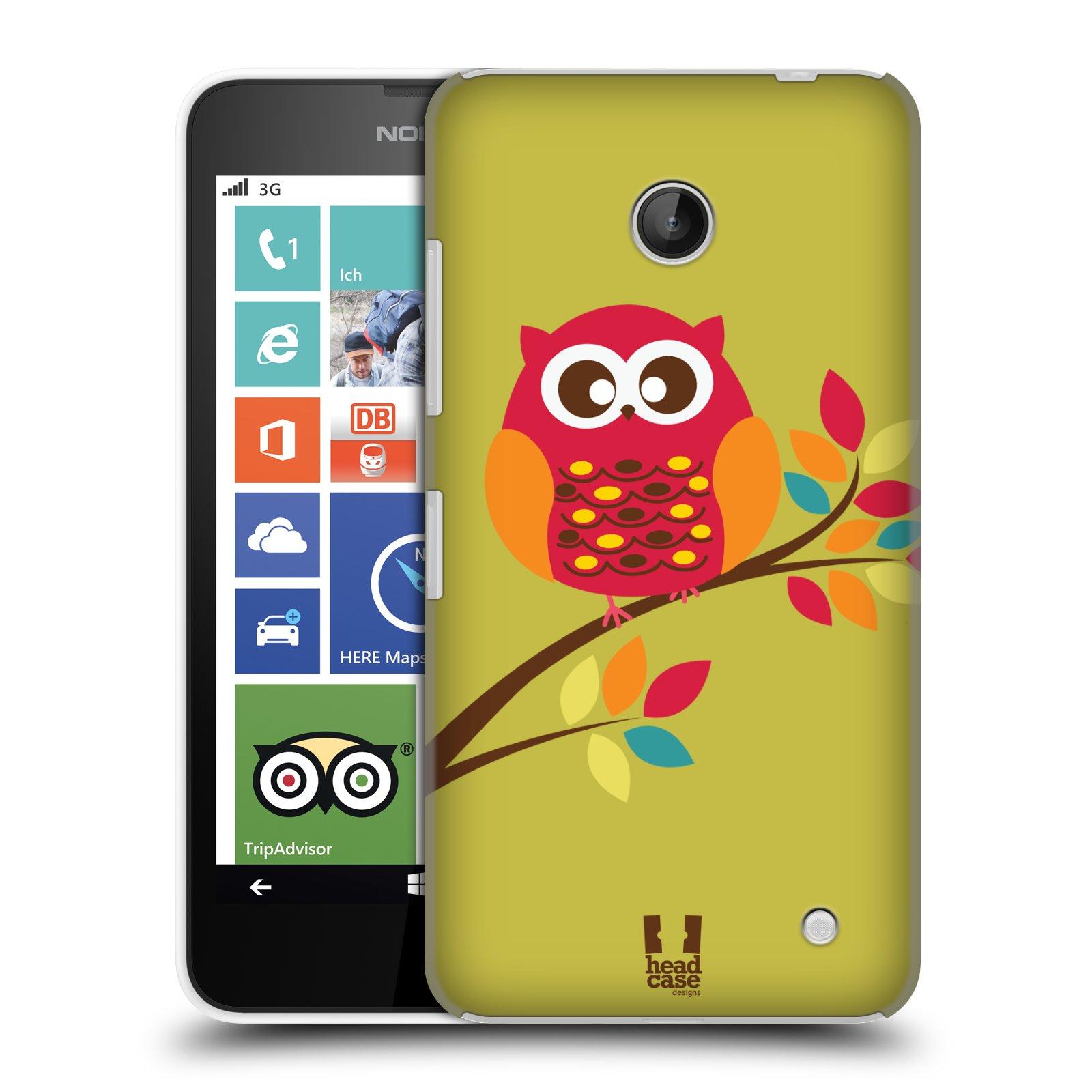 Plastové pouzdro na mobil Nokia Lumia 630 HEAD CASE SOVIČKA NA VĚTVI (Kryt či obal na mobilní telefon Nokia Lumia 630 a Nokia Lumia 630 Dual SIM)