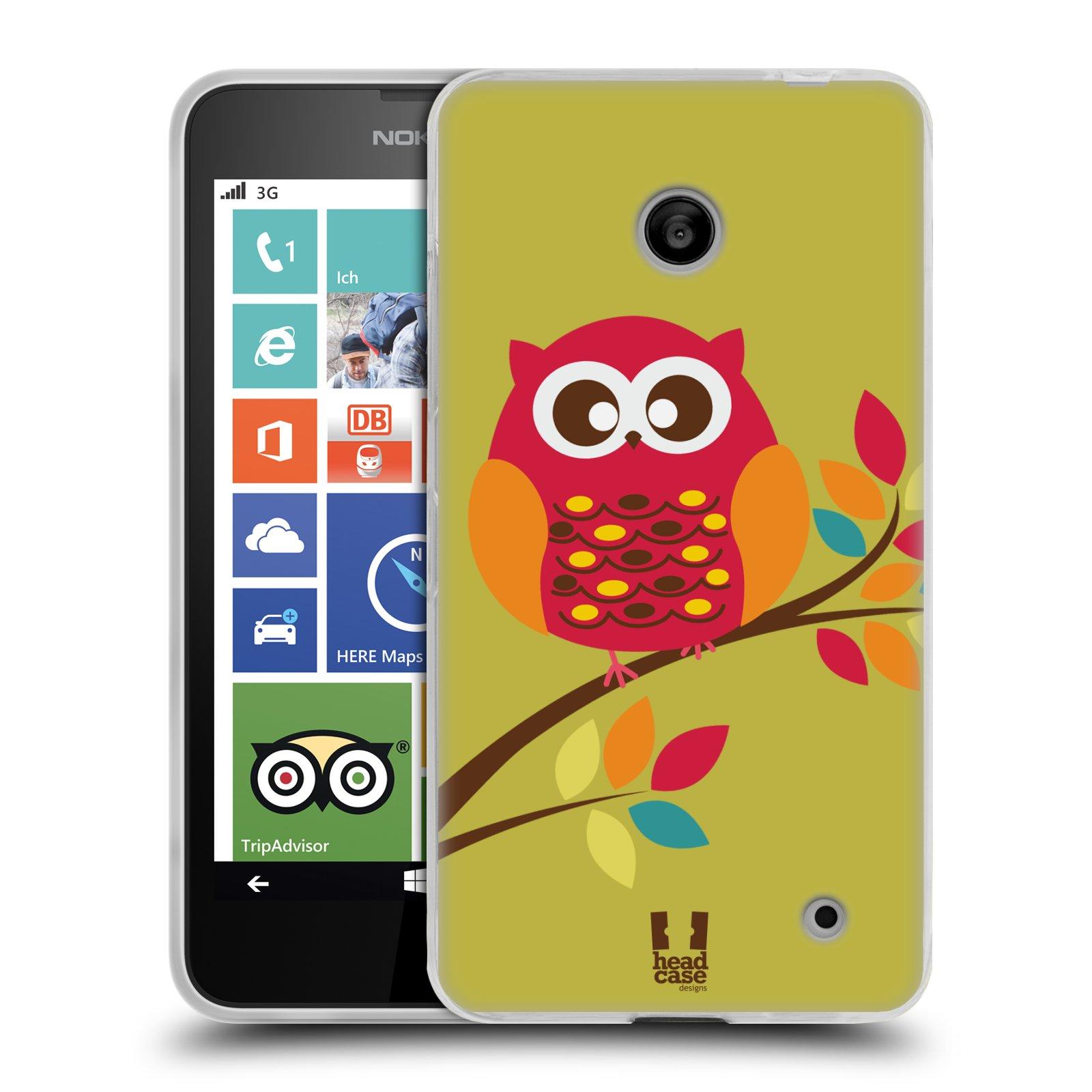 Silikonové pouzdro na mobil Nokia Lumia 630 HEAD CASE SOVIČKA NA VĚTVI (Silikonový kryt či obal na mobilní telefon Nokia Lumia 630 a Nokia Lumia 630 Dual SIM)