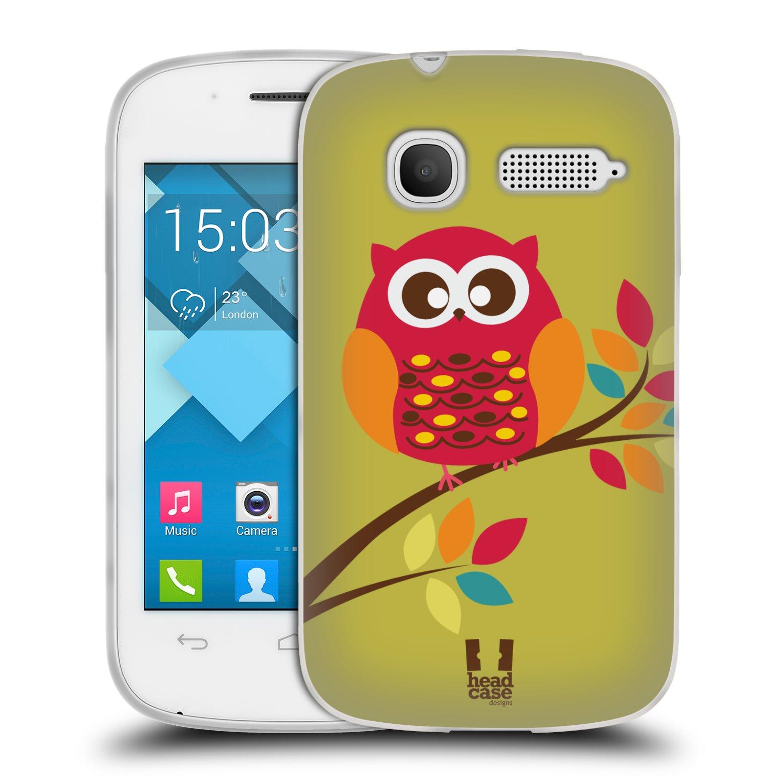 Silikonové pouzdro na mobil Alcatel One Touch Pop C1 HEAD CASE SOVIČKA NA VĚTVI (Silikonový kryt či obal na mobilní telefon Alcatel OT-4015D POP C1)