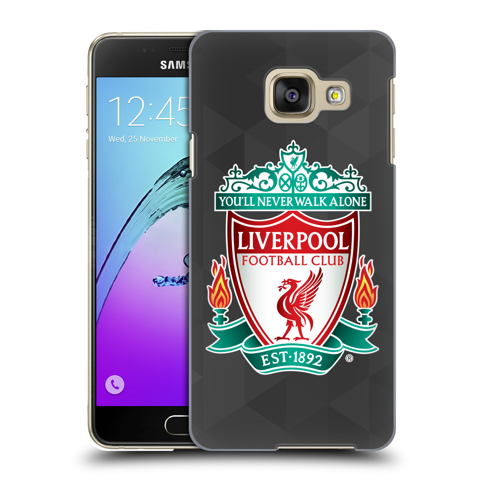 Plastové pouzdro na mobil Samsung Galaxy A3 (2016) HEAD CASE ZNAK LIVERPOOL FC OFFICIAL GEOMETRIC BLACK