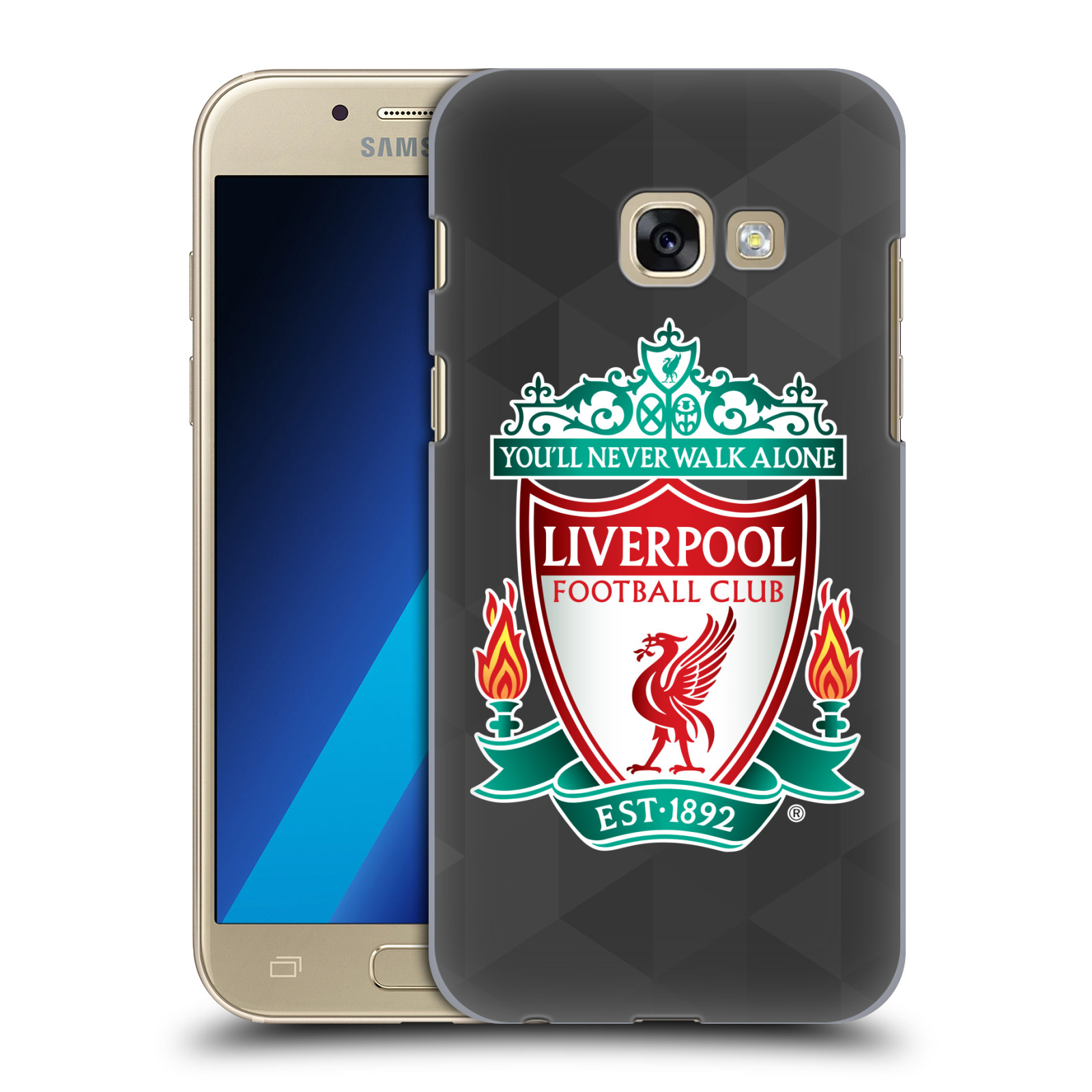 Plastové pouzdro na mobil Samsung Galaxy A3 (2017) HEAD CASE ZNAK LIVERPOOL FC OFFICIAL GEOMETRIC BLACK