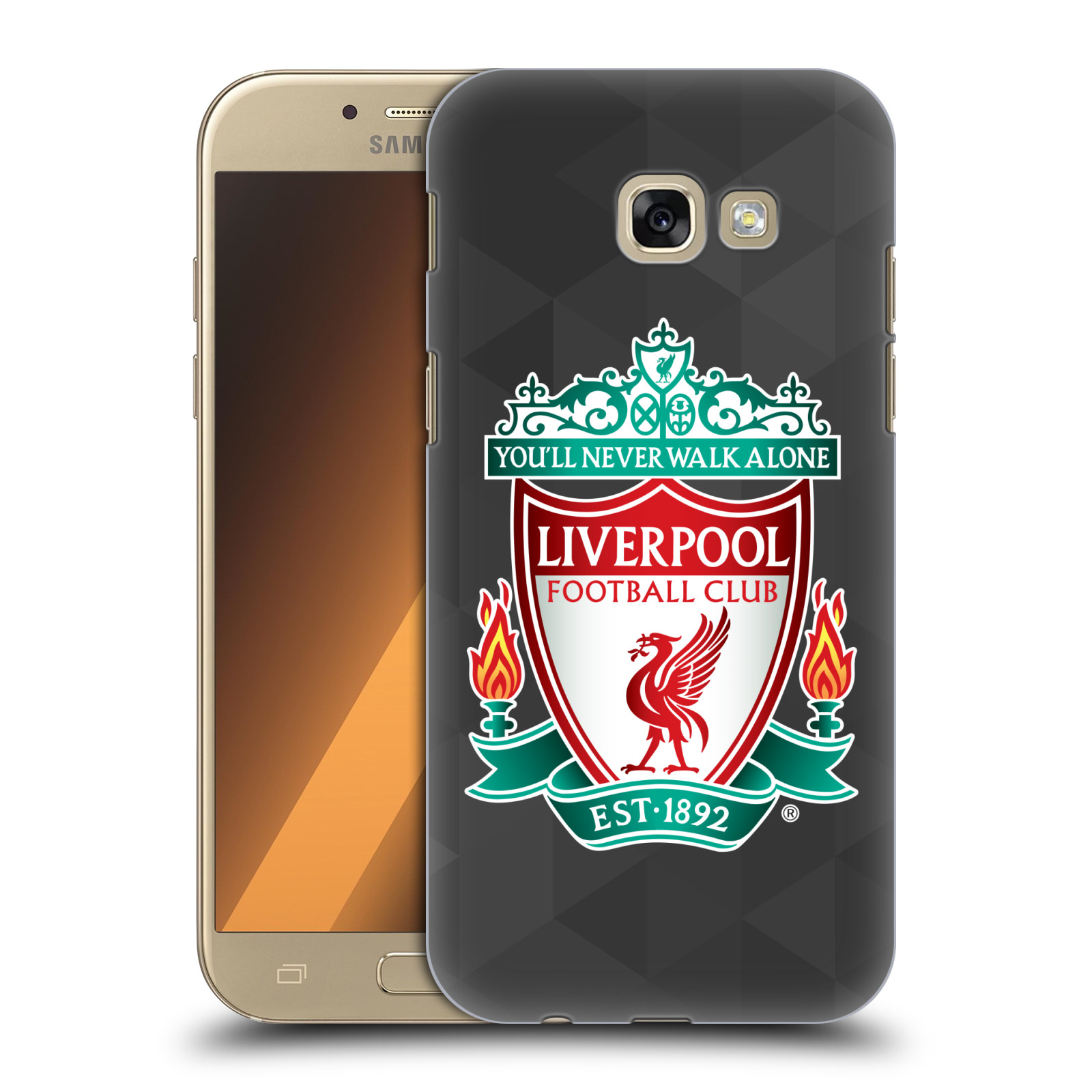 Plastové pouzdro na mobil Samsung Galaxy A5 (2017) HEAD CASE ZNAK LIVERPOOL FC OFFICIAL GEOMETRIC BLACK