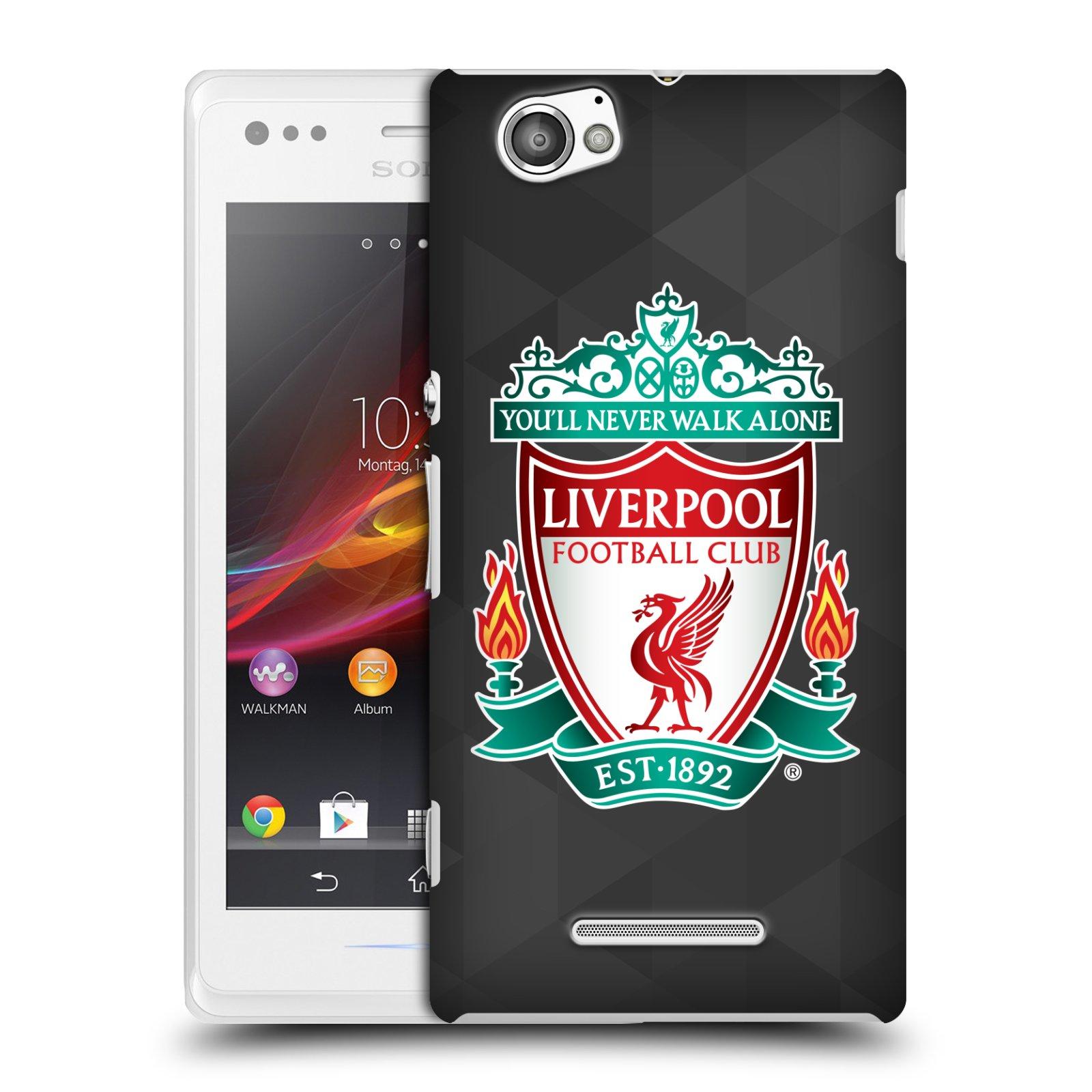 Plastové pouzdro na mobil Sony Xperia M C1905 HEAD CASE ZNAK LIVERPOOL FC OFFICIAL GEOMETRIC BLACK (Kryt či obal na mobilní telefon Liverpool FC Official pro Sony Xperia M )