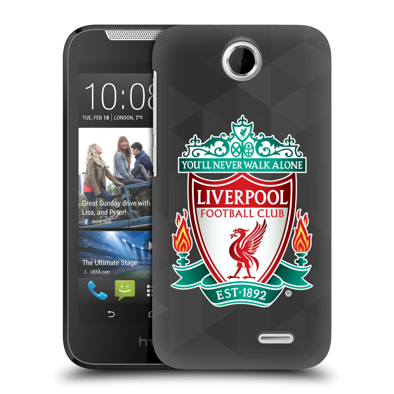 Plastové pouzdro na mobil HTC Desire 310 HEAD CASE ZNAK LIVERPOOL FC OFFICIAL GEOMETRIC BLACK (Kryt či obal na mobilní telefon Liverpool FC Official pro HTC Desire 310)