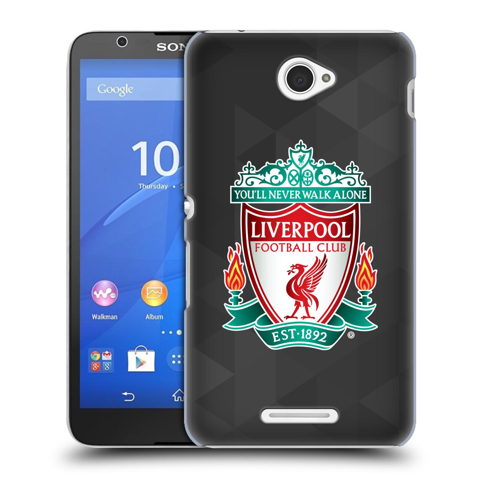 Plastové pouzdro na mobil Sony Xperia E4 E2105 HEAD CASE ZNAK LIVERPOOL FC OFFICIAL GEOMETRIC BLACK (Kryt či obal na mobilní telefon Liverpool FC Official pro Sony Xperia E4 a E4 Dual SIM)