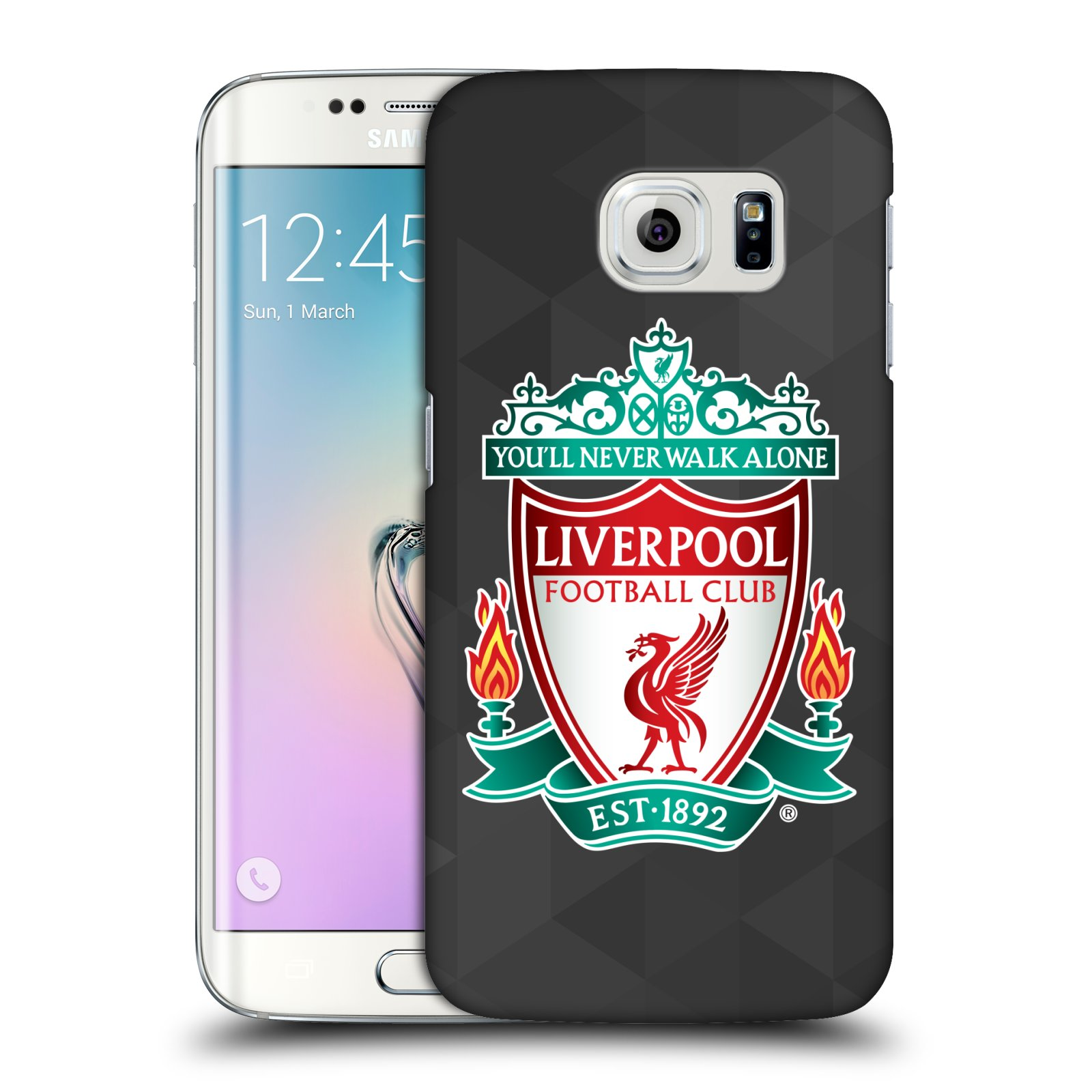 Plastové pouzdro na mobil Samsung Galaxy S6 Edge HEAD CASE ZNAK LIVERPOOL FC OFFICIAL GEOMETRIC BLACK (Kryt či obal na mobilní telefon Liverpool FC Official pro Samsung Galaxy S6 Edge SM-G925F)