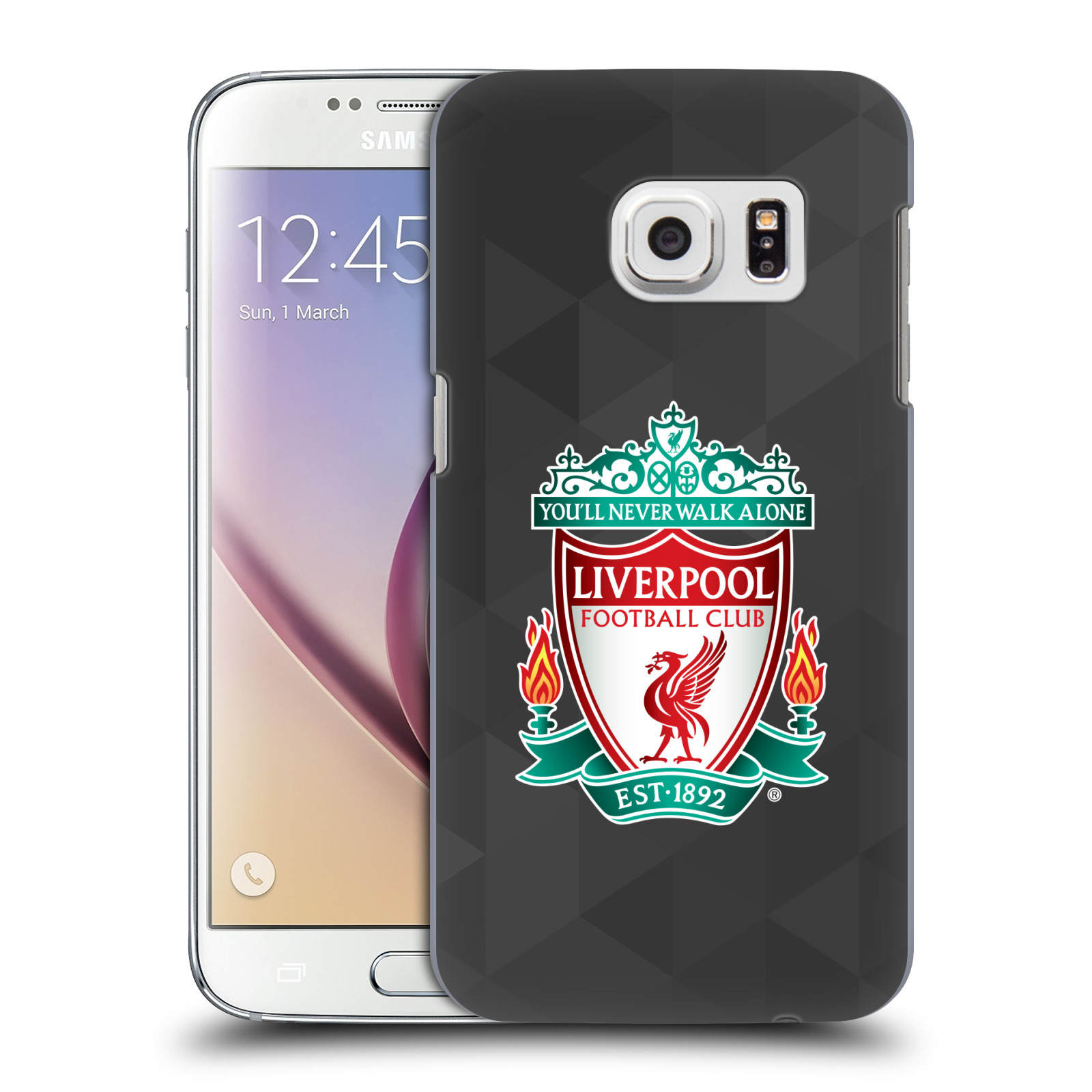 Plastové pouzdro na mobil Samsung Galaxy S7 HEAD CASE ZNAK LIVERPOOL FC OFFICIAL GEOMETRIC BLACK (Kryt či obal na mobilní telefon Liverpool FC Official pro Samsung Galaxy S7 SM-G930F)