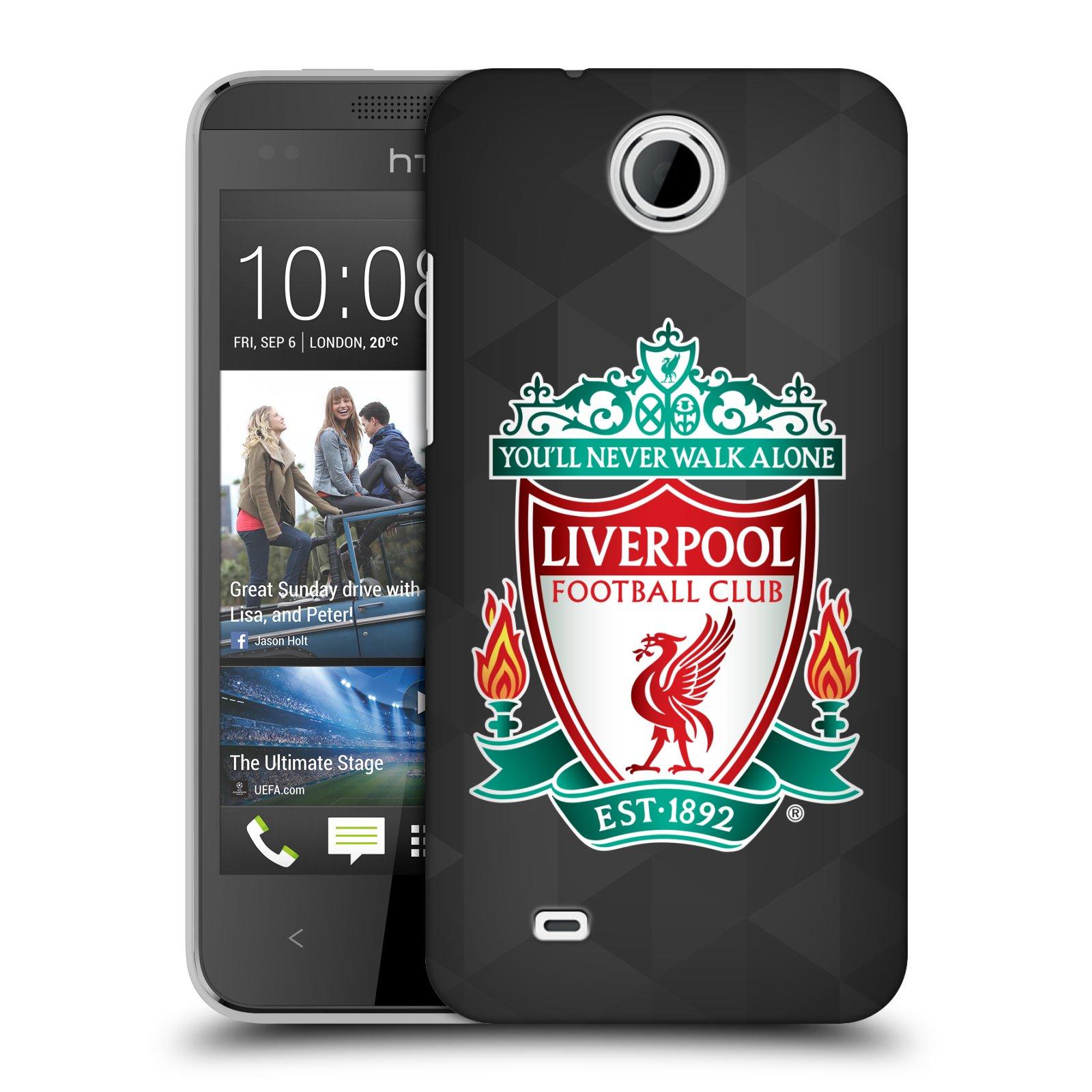 Plastové pouzdro na mobil HTC Desire 300 HEAD CASE ZNAK LIVERPOOL FC OFFICIAL GEOMETRIC BLACK (Kryt či obal na mobilní telefon Liverpool FC Official pro HTC Desire 300)