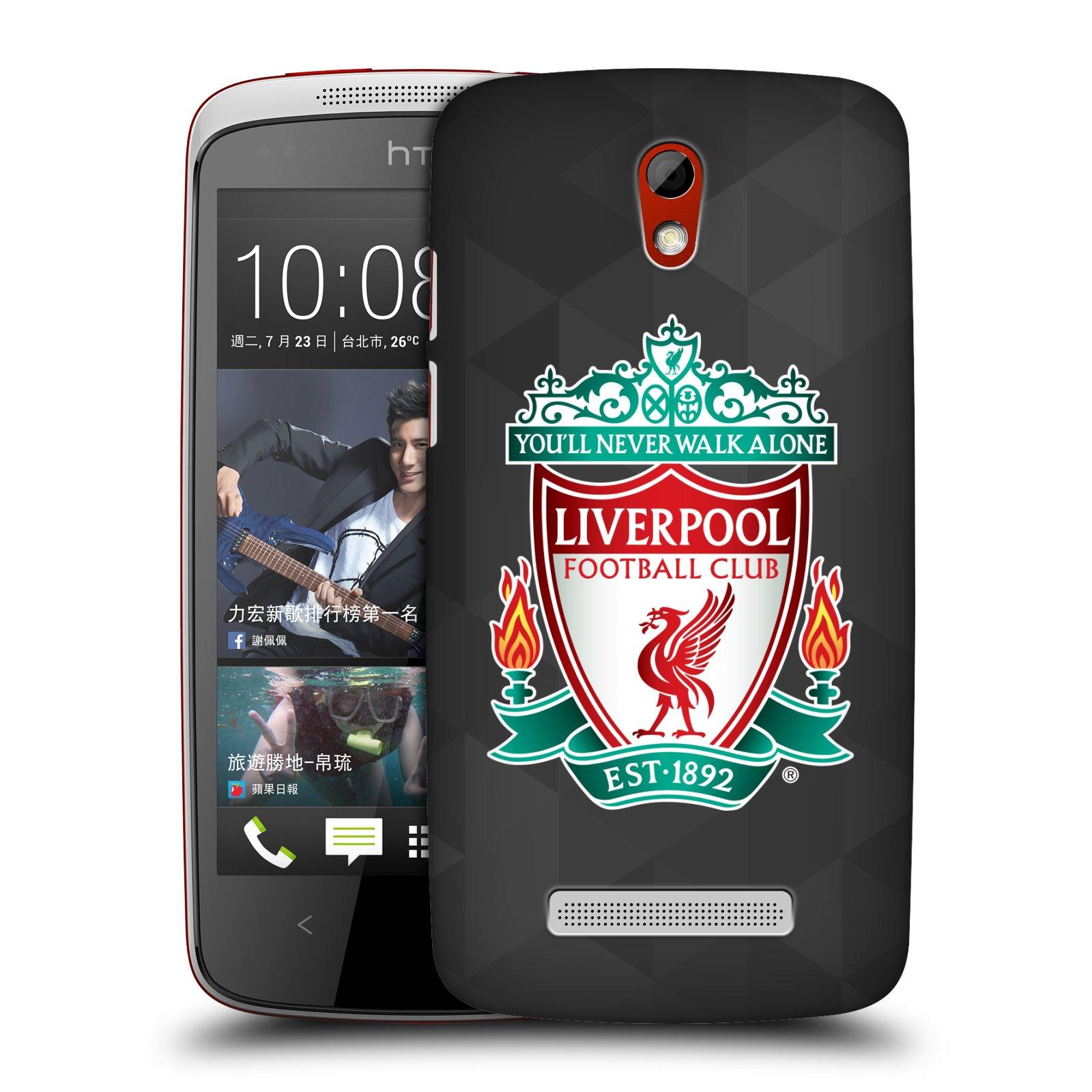 Plastové pouzdro na mobil HTC Desire 500 HEAD CASE ZNAK LIVERPOOL FC OFFICIAL GEOMETRIC BLACK (Kryt či obal na mobilní telefon Liverpool FC Official pro HTC Desire 500)