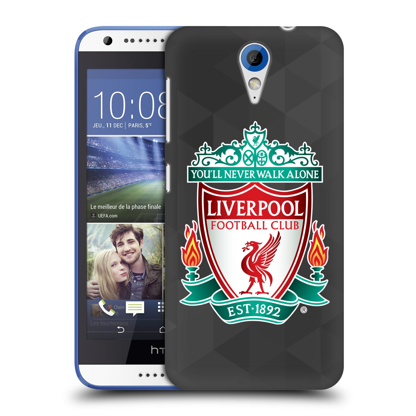Plastové pouzdro na mobil HTC Desire 620 HEAD CASE ZNAK LIVERPOOL FC OFFICIAL GEOMETRIC BLACK (Kryt či obal na mobilní telefon Liverpool FC Official pro HTC Desire 620)