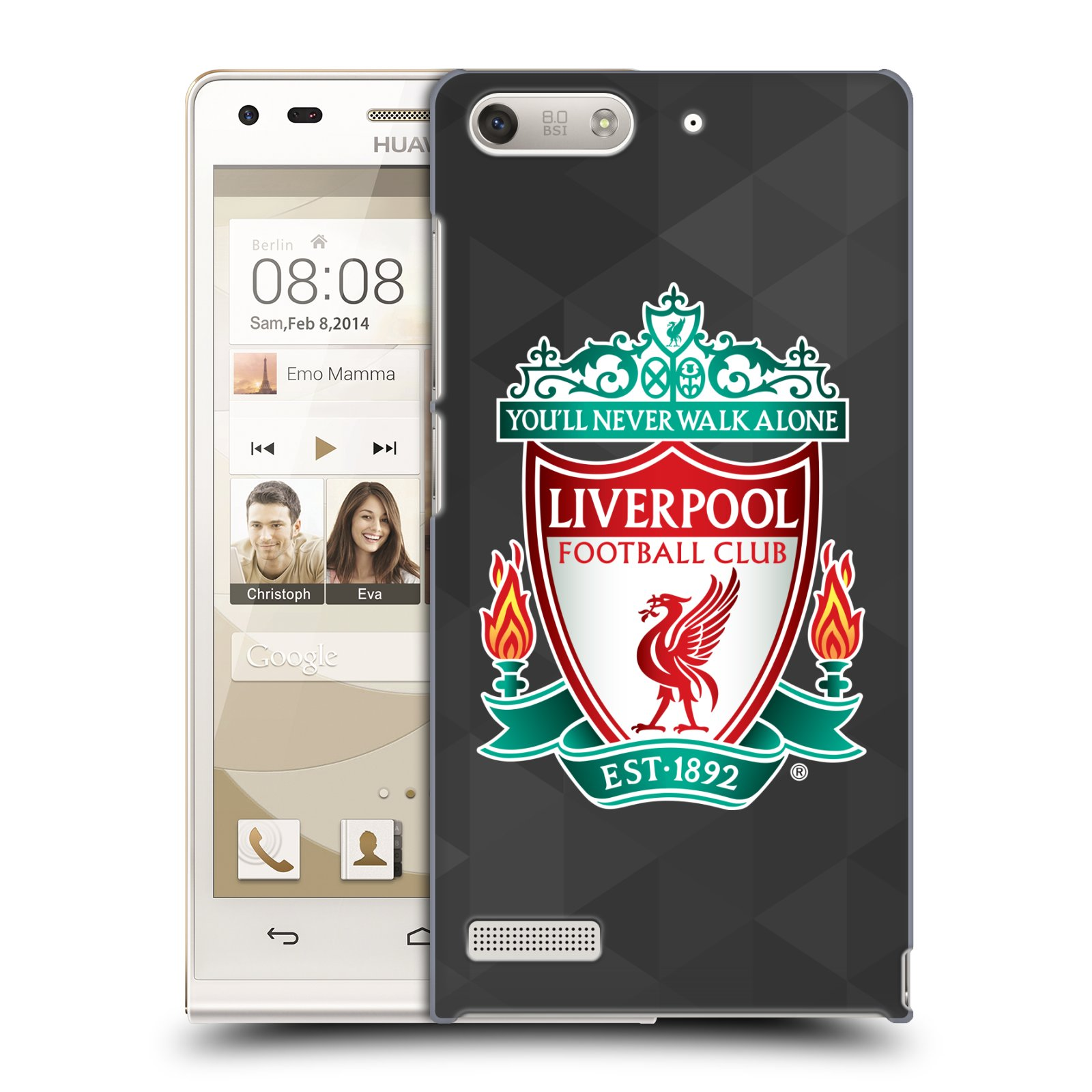 Plastové pouzdro na mobil Huawei Ascend G6 HEAD CASE ZNAK LIVERPOOL FC OFFICIAL GEOMETRIC BLACK (Kryt či obal na mobilní telefon Liverpool FC Official pro Huawei Ascend G6 bez LTE)