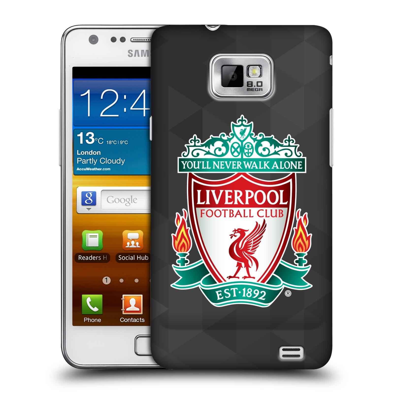 Plastové pouzdro na mobil Samsung Galaxy S II HEAD CASE ZNAK LIVERPOOL FC OFFICIAL GEOMETRIC BLACK (Kryt či obal na mobilní telefon Liverpool FC Official pro Samsung Galaxy S II GT-i9100)