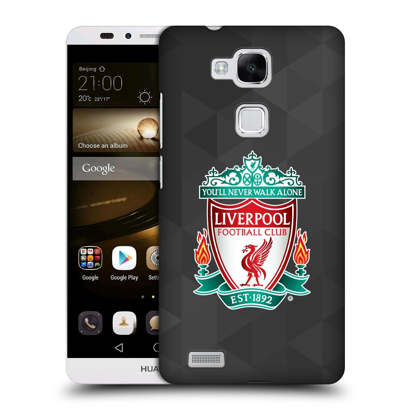 Plastové pouzdro na mobil Huawei Ascend Mate 7 HEAD CASE ZNAK LIVERPOOL FC OFFICIAL GEOMETRIC BLACK (Kryt či obal na mobilní telefon Liverpool FC Official pro Huawei Ascend Mate7)