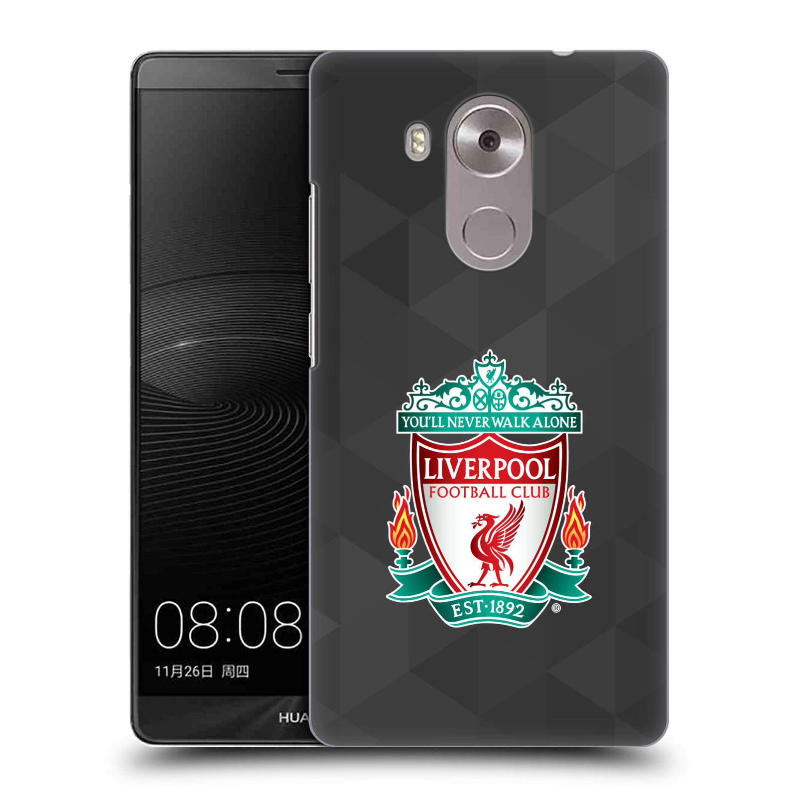 Plastové pouzdro na mobil Huawei Mate 8 HEAD CASE ZNAK LIVERPOOL FC OFFICIAL GEOMETRIC BLACK (Kryt či obal na mobilní telefon Liverpool FC Official pro Huawei Ascend MATE8)