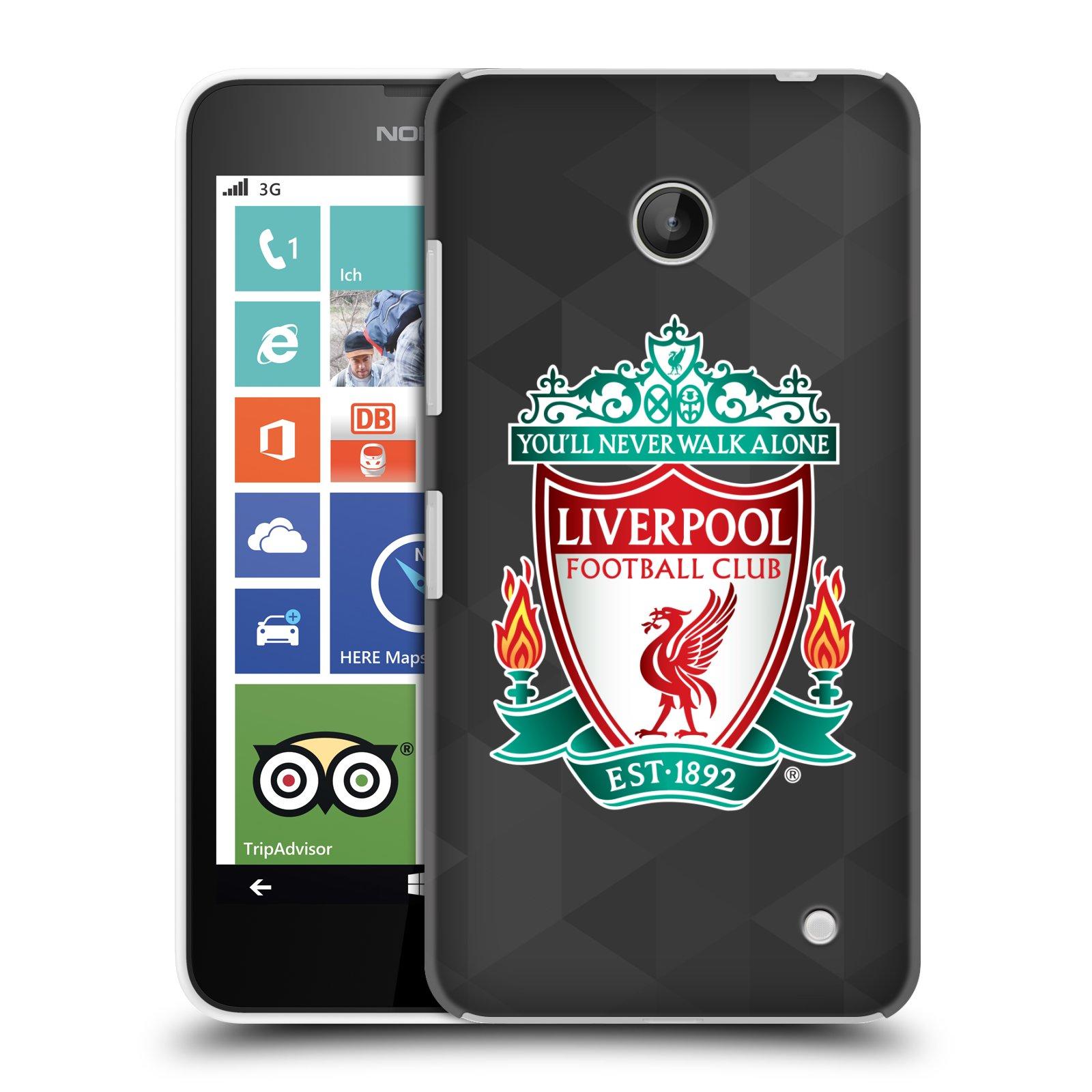 Plastové pouzdro na mobil Nokia Lumia 630 HEAD CASE ZNAK LIVERPOOL FC OFFICIAL GEOMETRIC BLACK (Kryt či obal na mobilní telefon Liverpool FC Official pro Nokia Lumia 630 a Nokia Lumia 630 Dual SIM)