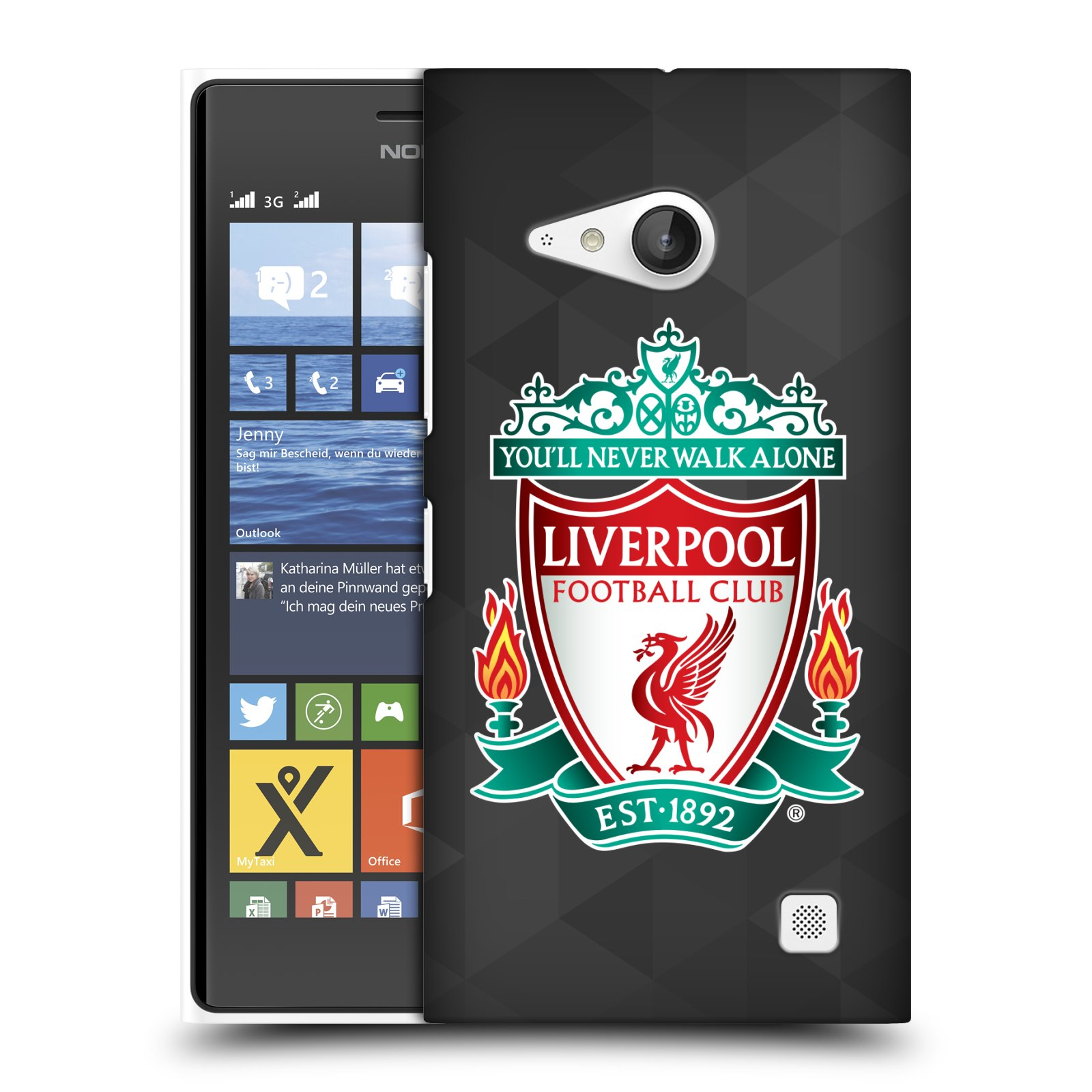 Plastové pouzdro na mobil Nokia Lumia 735 HEAD CASE ZNAK LIVERPOOL FC OFFICIAL GEOMETRIC BLACK (Kryt či obal na mobilní telefon Liverpool FC Official pro Nokia Lumia 735)