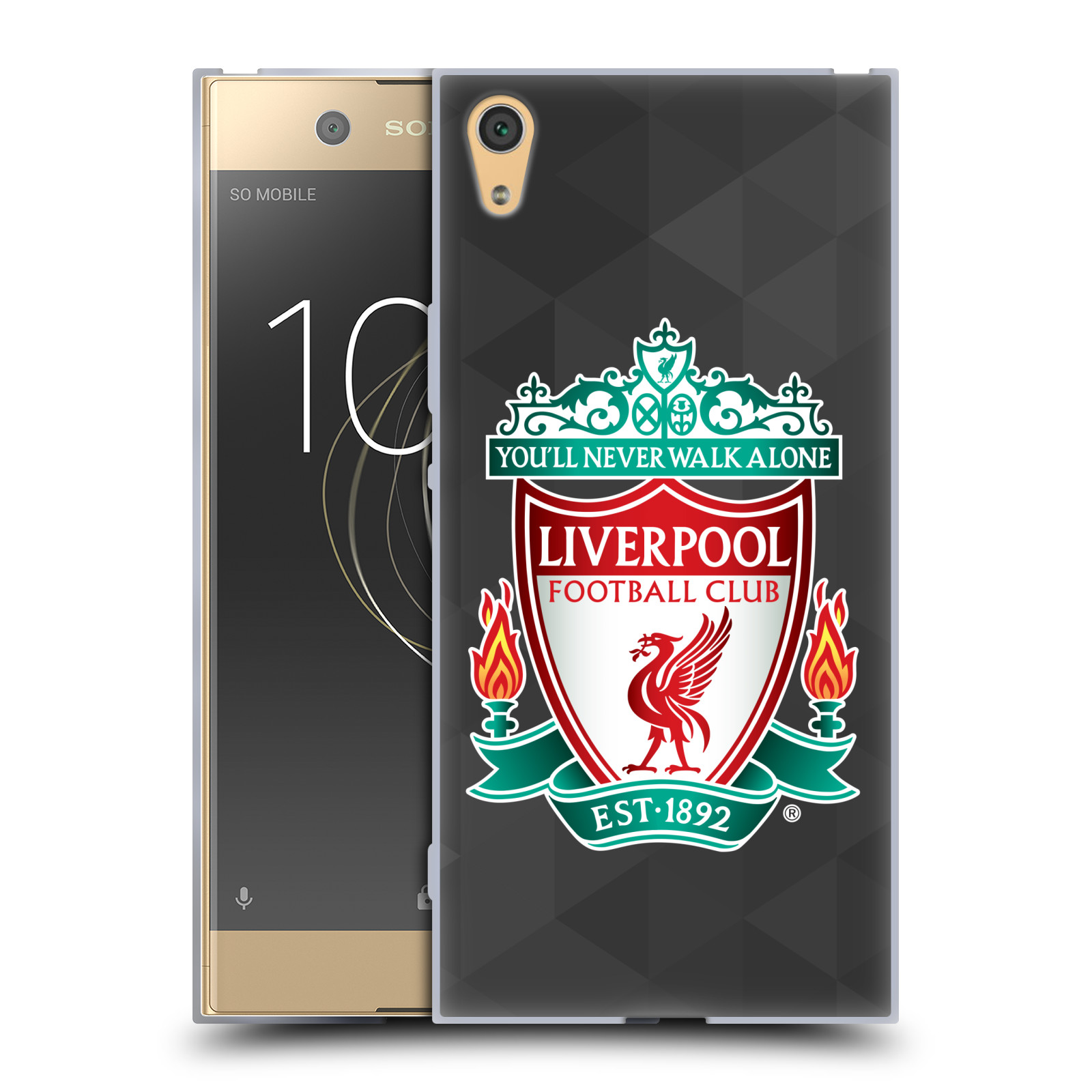 Silikonové pouzdro na mobil Sony Xperia XA1 Ultra - Head Case - ZNAK LIVERPOOL FC OFFICIAL GEOMETRIC BLACK