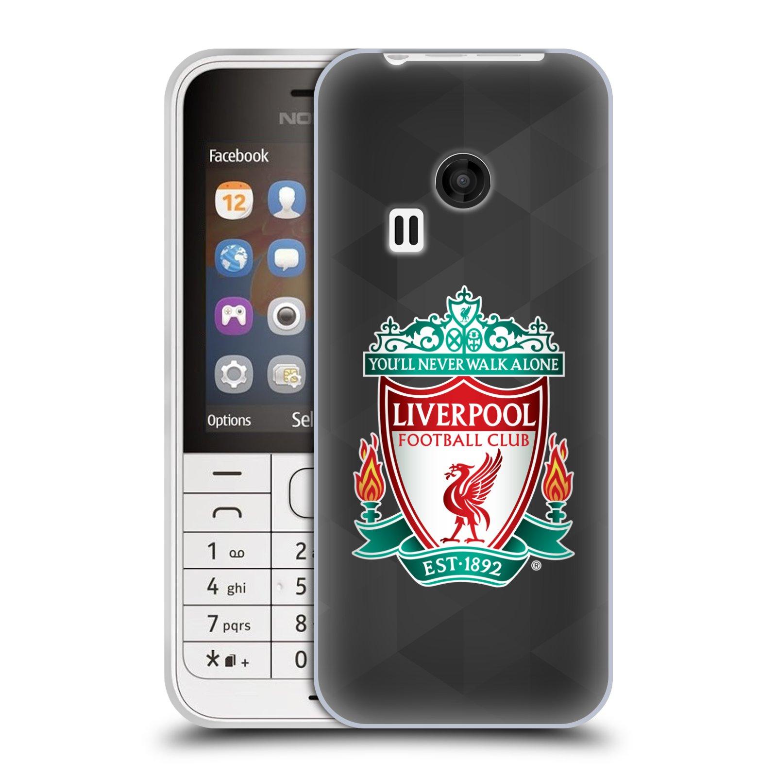 Silikonové pouzdro na mobil Nokia 220 HEAD CASE ZNAK LIVERPOOL FC OFFICIAL GEOMETRIC BLACK (Silikonový kryt či obal na mobilní telefon Liverpool FC Official pro Nokia 220 a 220 Dual SIM)