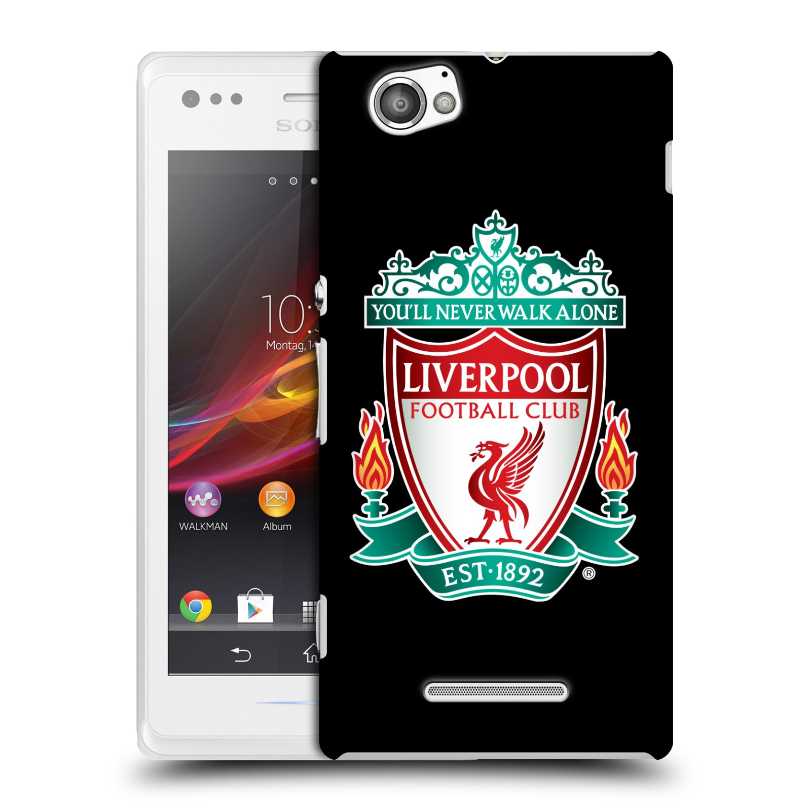 Plastové pouzdro na mobil Sony Xperia M C1905 HEAD CASE ZNAK LIVERPOOL FC OFFICIAL BLACK (Kryt či obal na mobilní telefon Liverpool FC Official pro Sony Xperia M )