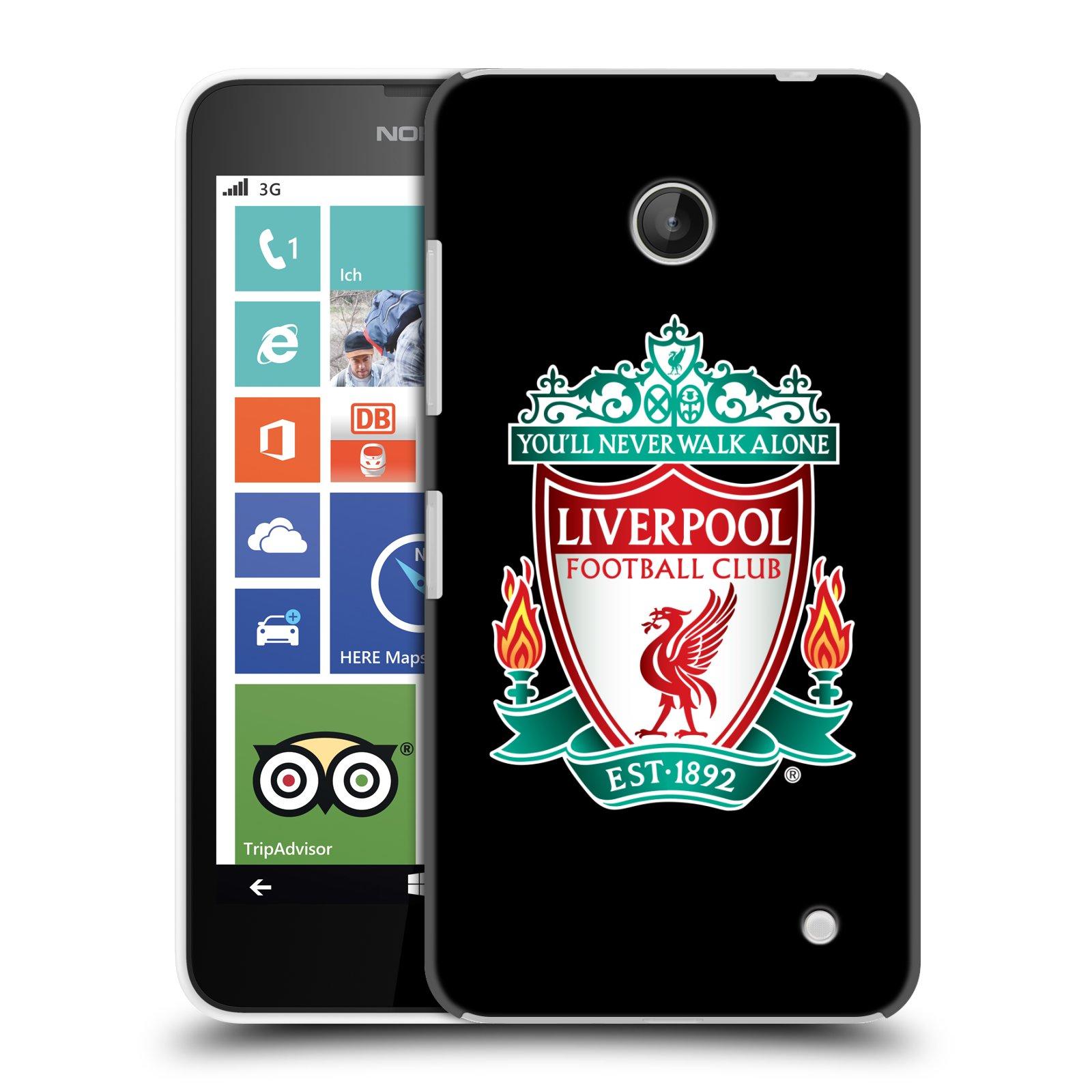 Plastové pouzdro na mobil Nokia Lumia 630 HEAD CASE ZNAK LIVERPOOL FC OFFICIAL BLACK (Kryt či obal na mobilní telefon Liverpool FC Official pro Nokia Lumia 630 a Nokia Lumia 630 Dual SIM)
